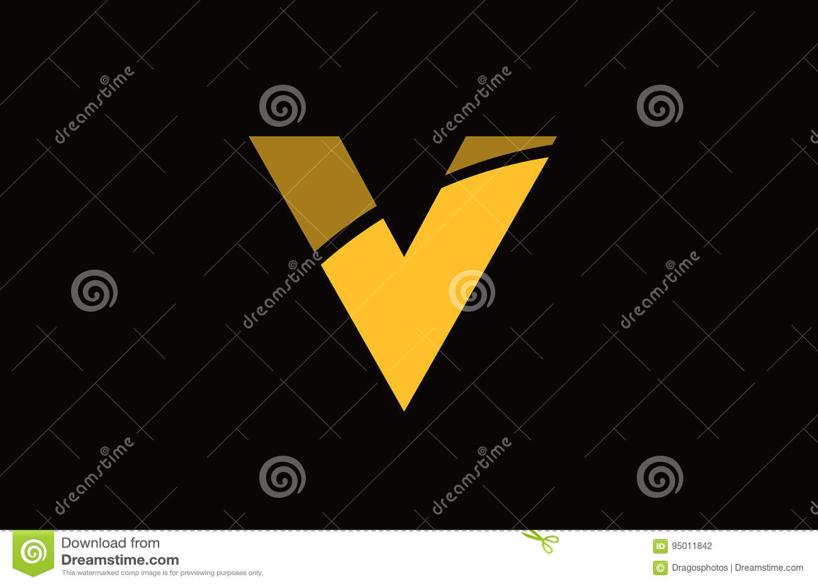v alphabet yellow letter logo icon template company