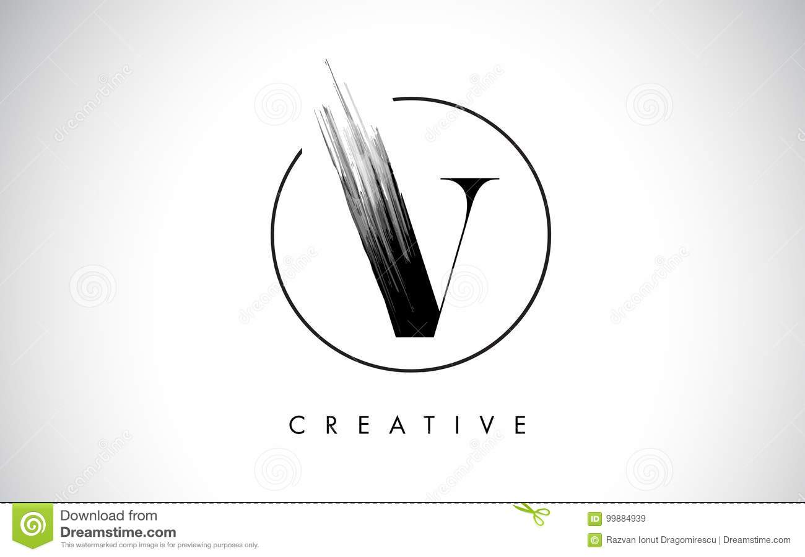 V Brush Stroke Letter Logo Design Black Paint Logo Leters Icon