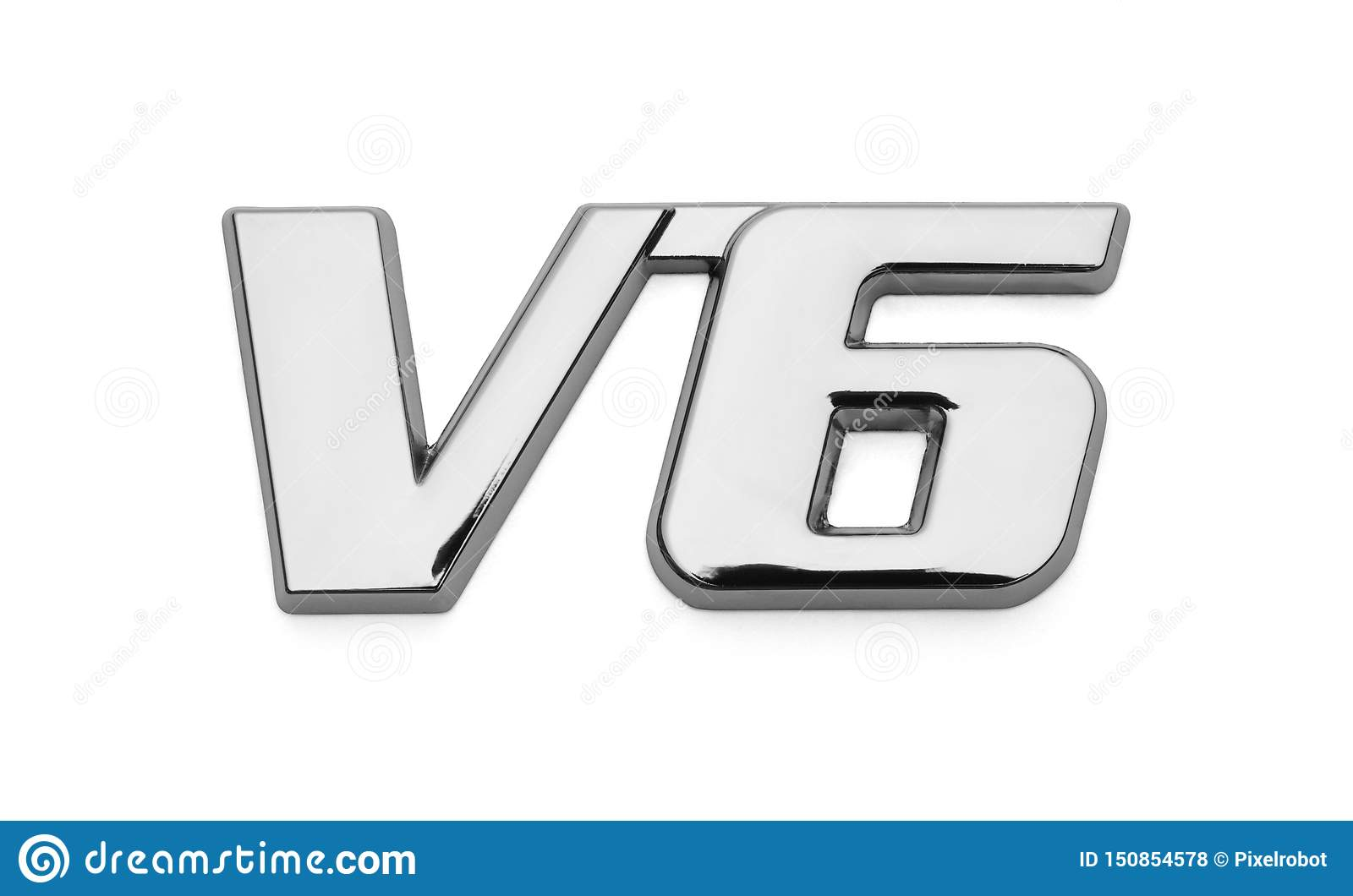 V6 Car Chrome Logo