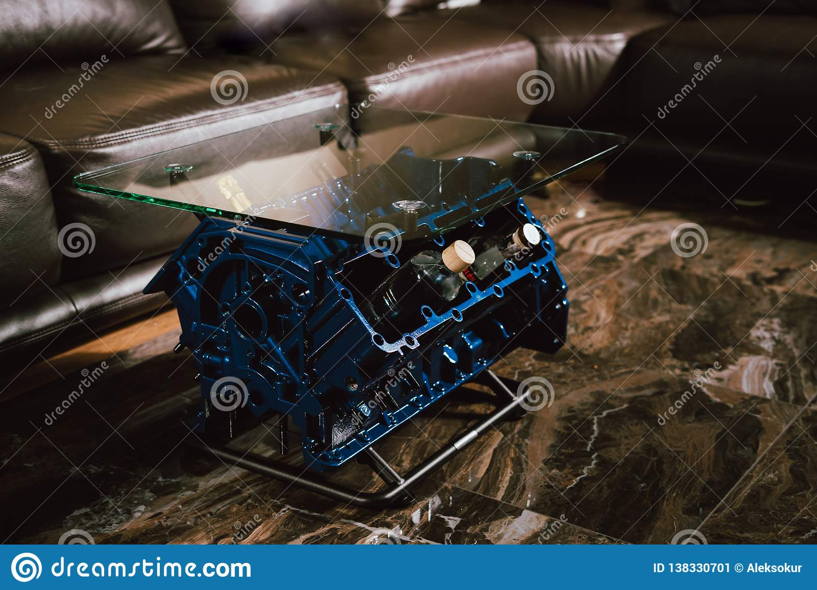 V8 Engine Block Table, Painted In Blue Color  L Stock Image
