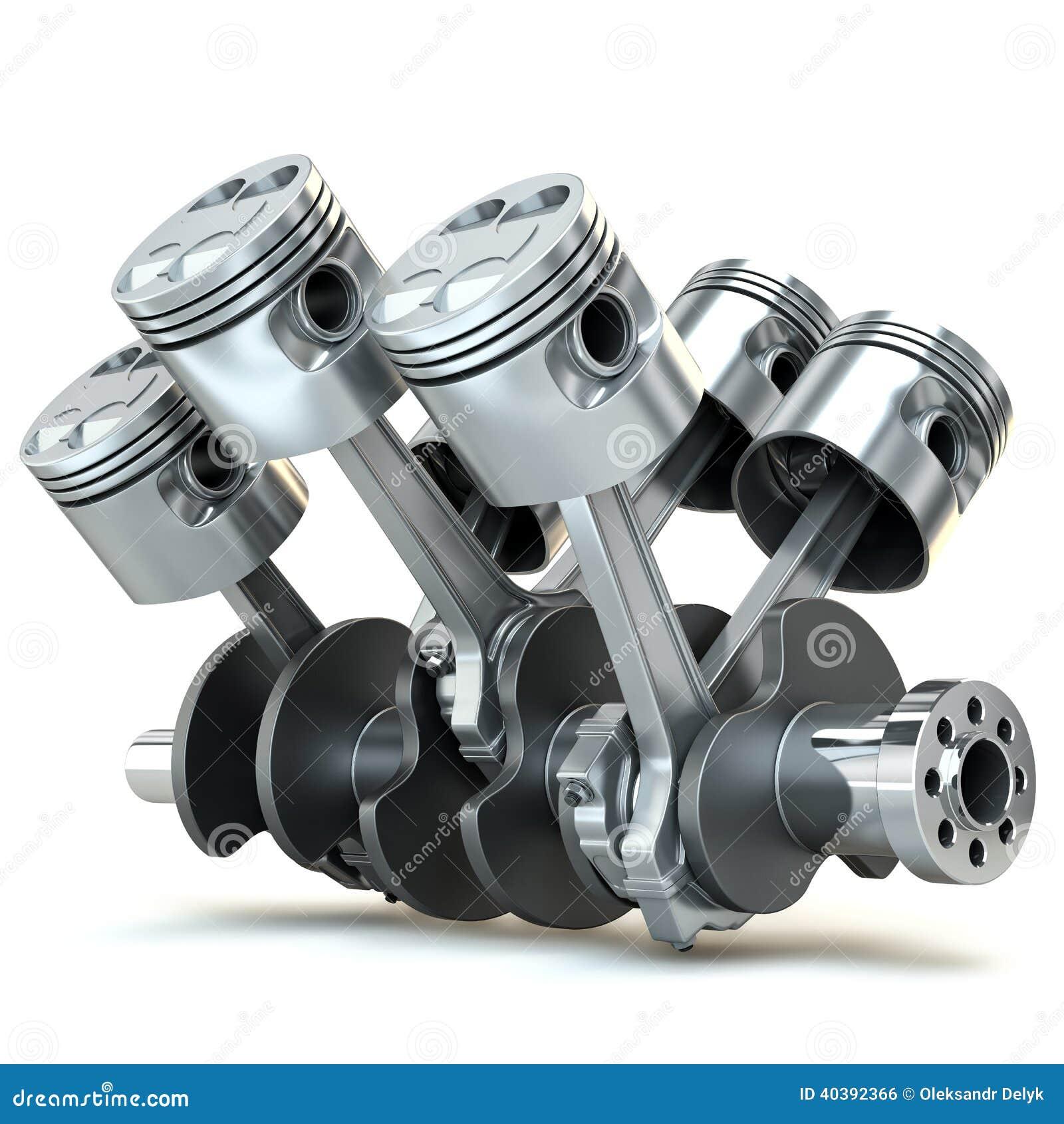 V6 engine pistons. 3D image.