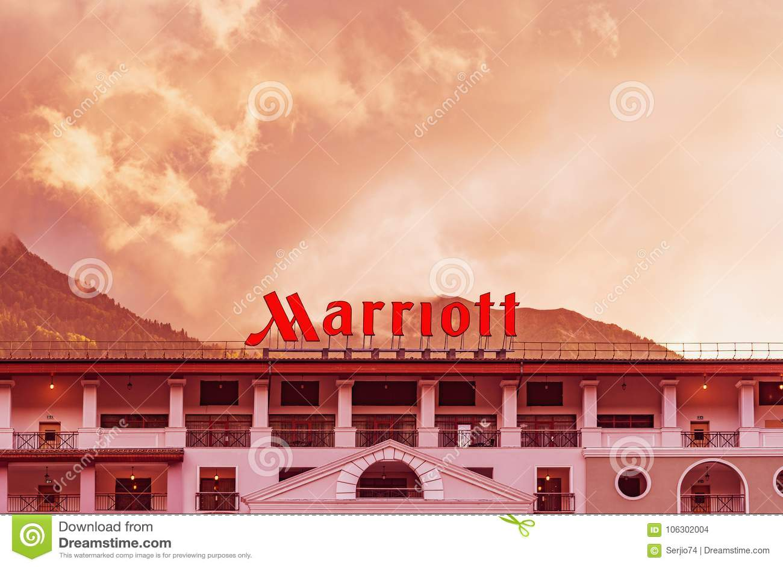 V iew da fachada do hotel de Marriott