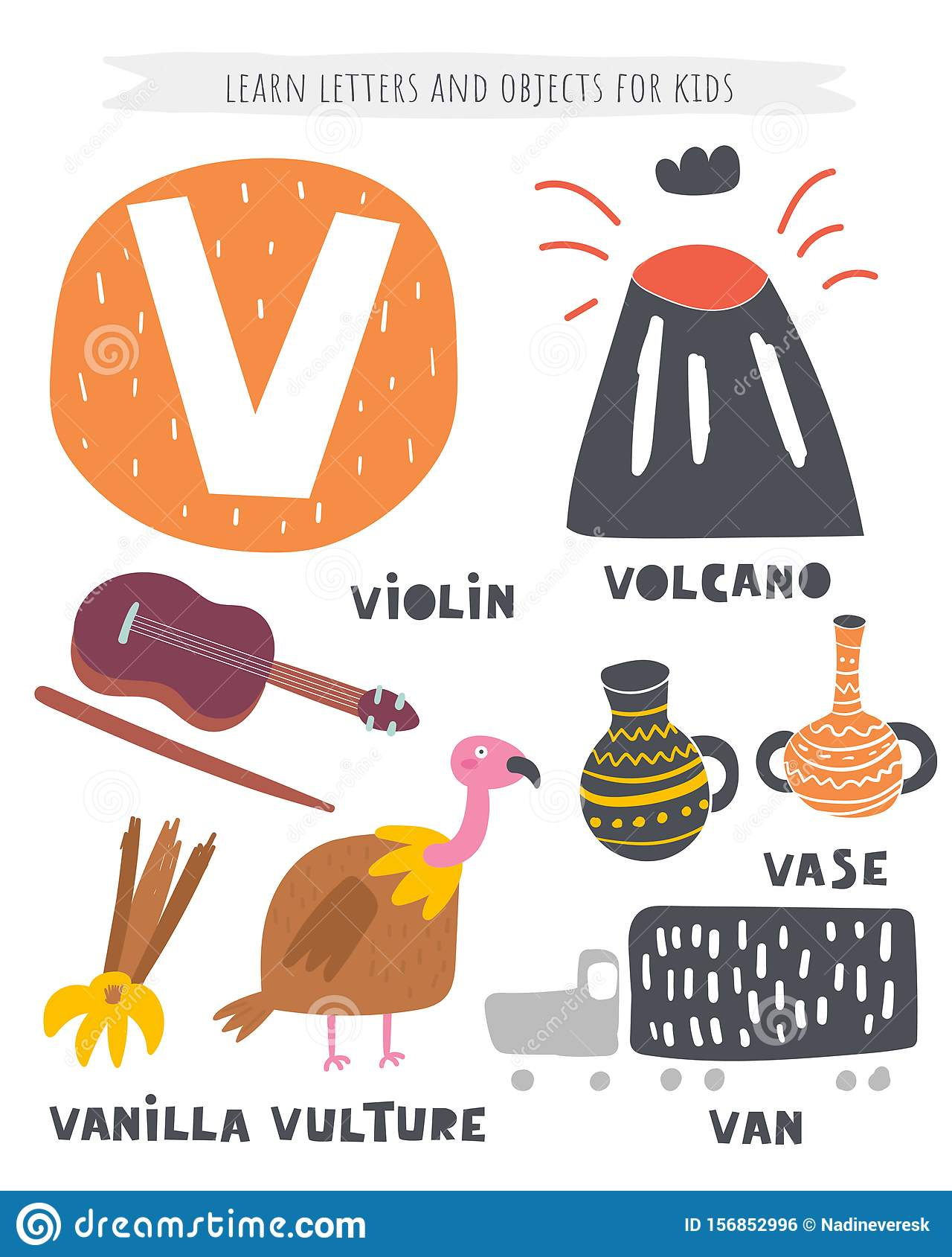 V Letter Objects And Animals Including Volcano, Vase, Van, Vanilla, Violin,  Vulture. Learn English Alphabet, Letters Stock Vector - Illustration of  lettering, background: 156852996