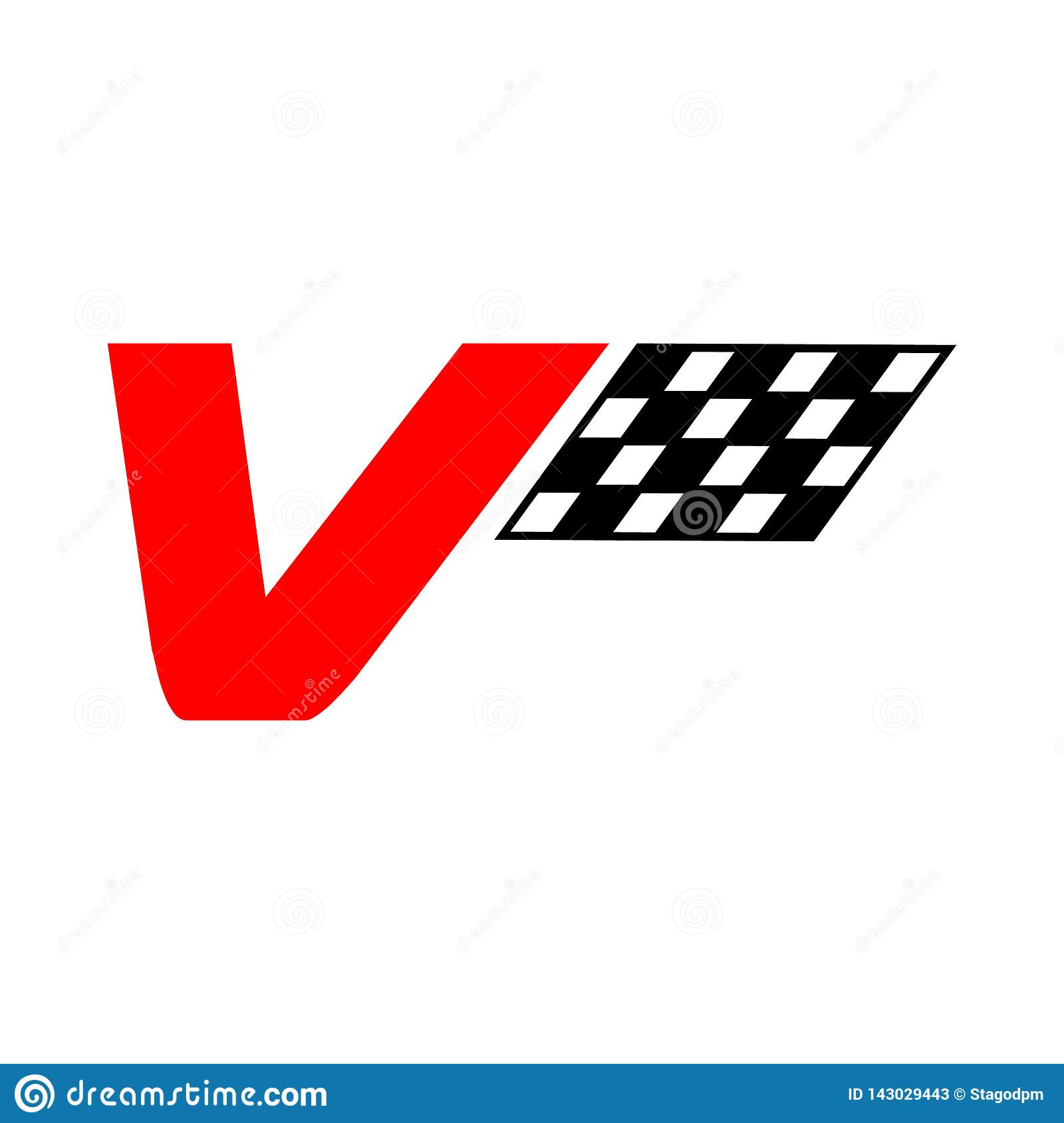 Illustration icon sign symbol of a v racing letter logo isolated on white background