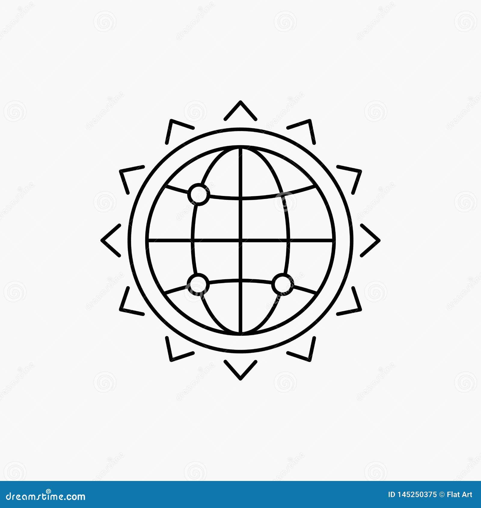 V?rld jordklot, SEO, aff?r, optimizationlinje symbol Vektor isolerad illustration