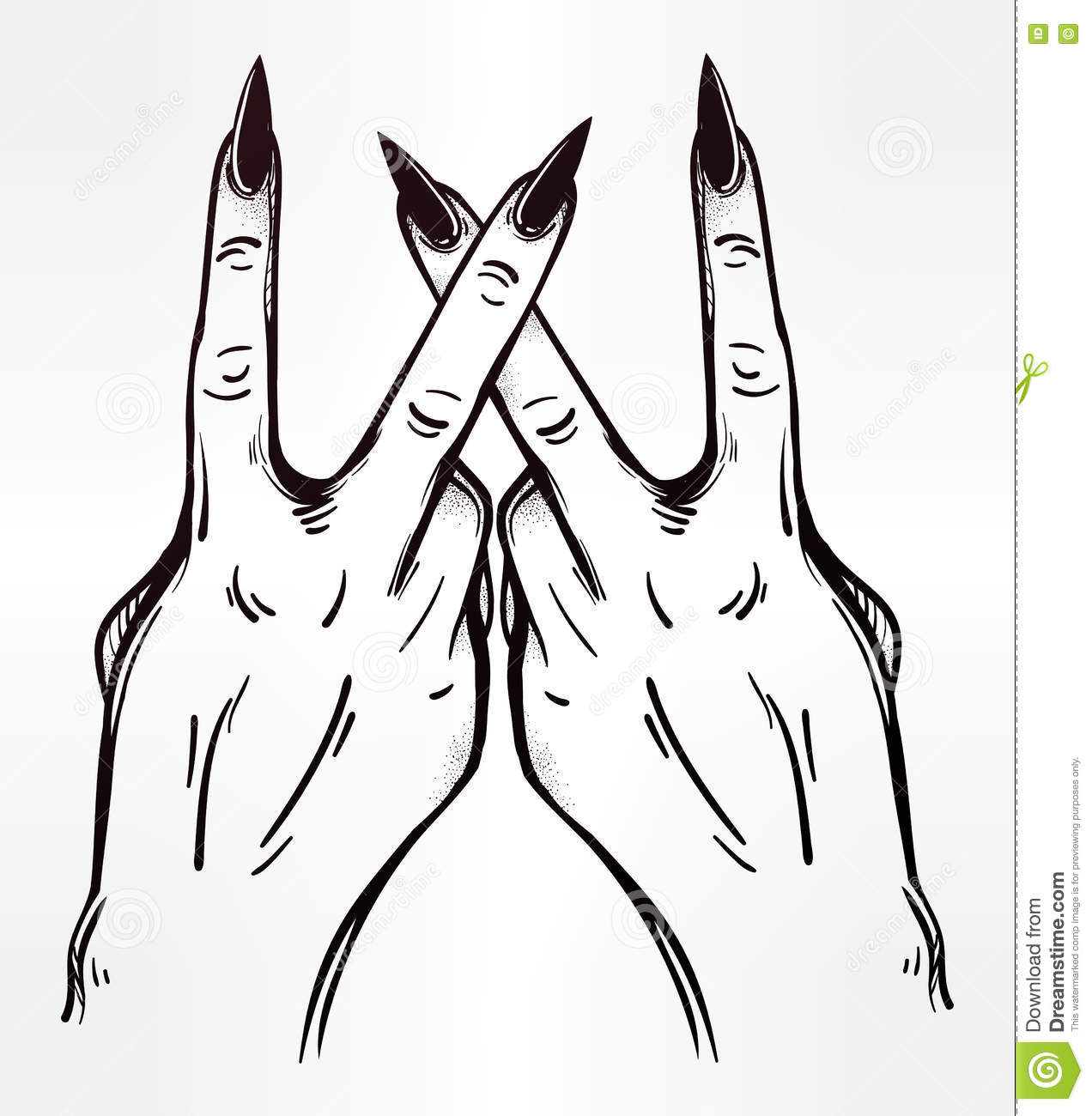 V Sign Hand Flash Tattoo Fingers Showing Two Stock Vector