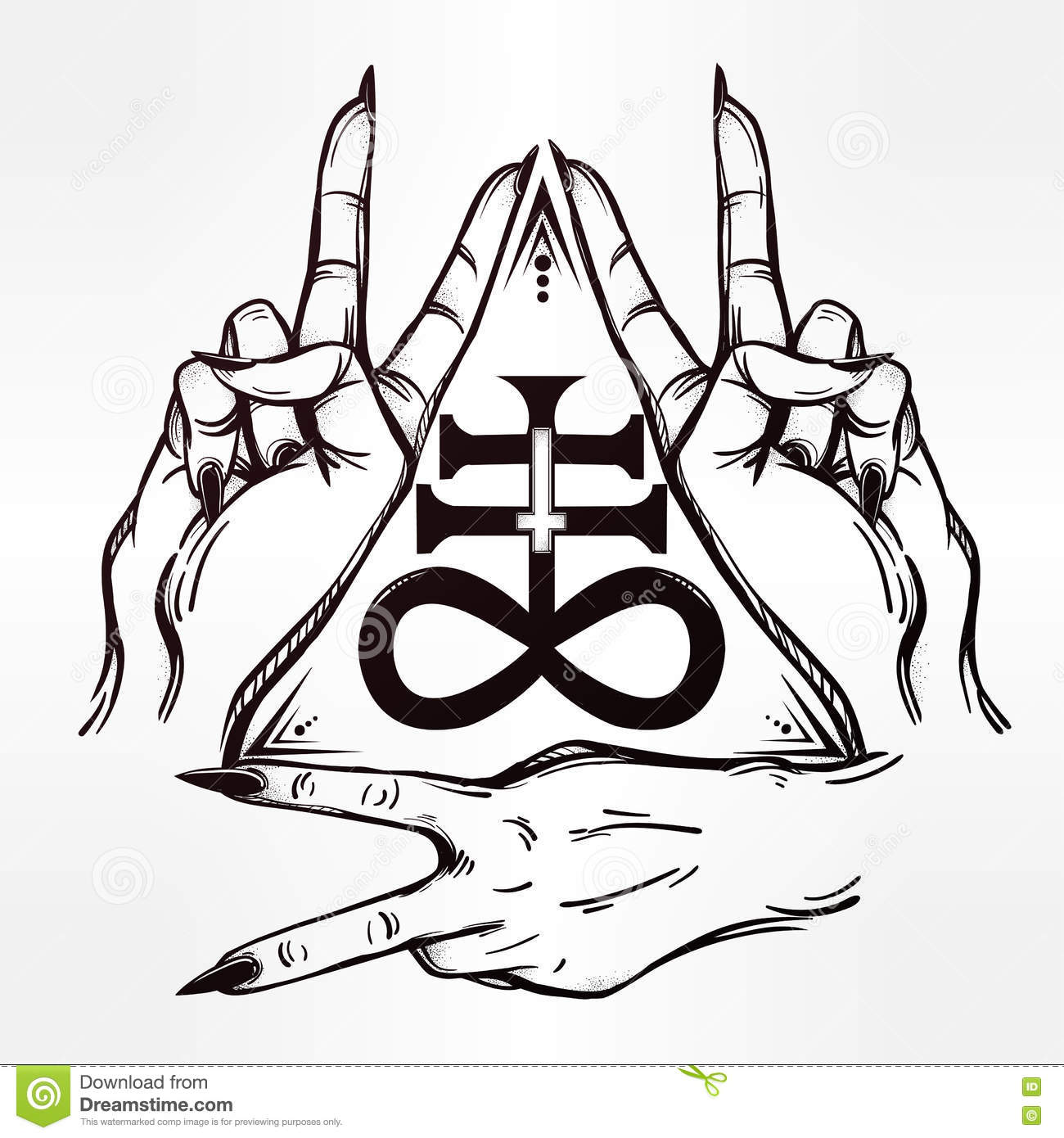 V Sign Hand Flash Tattoo Hands And Satanic Cross Stock Vector