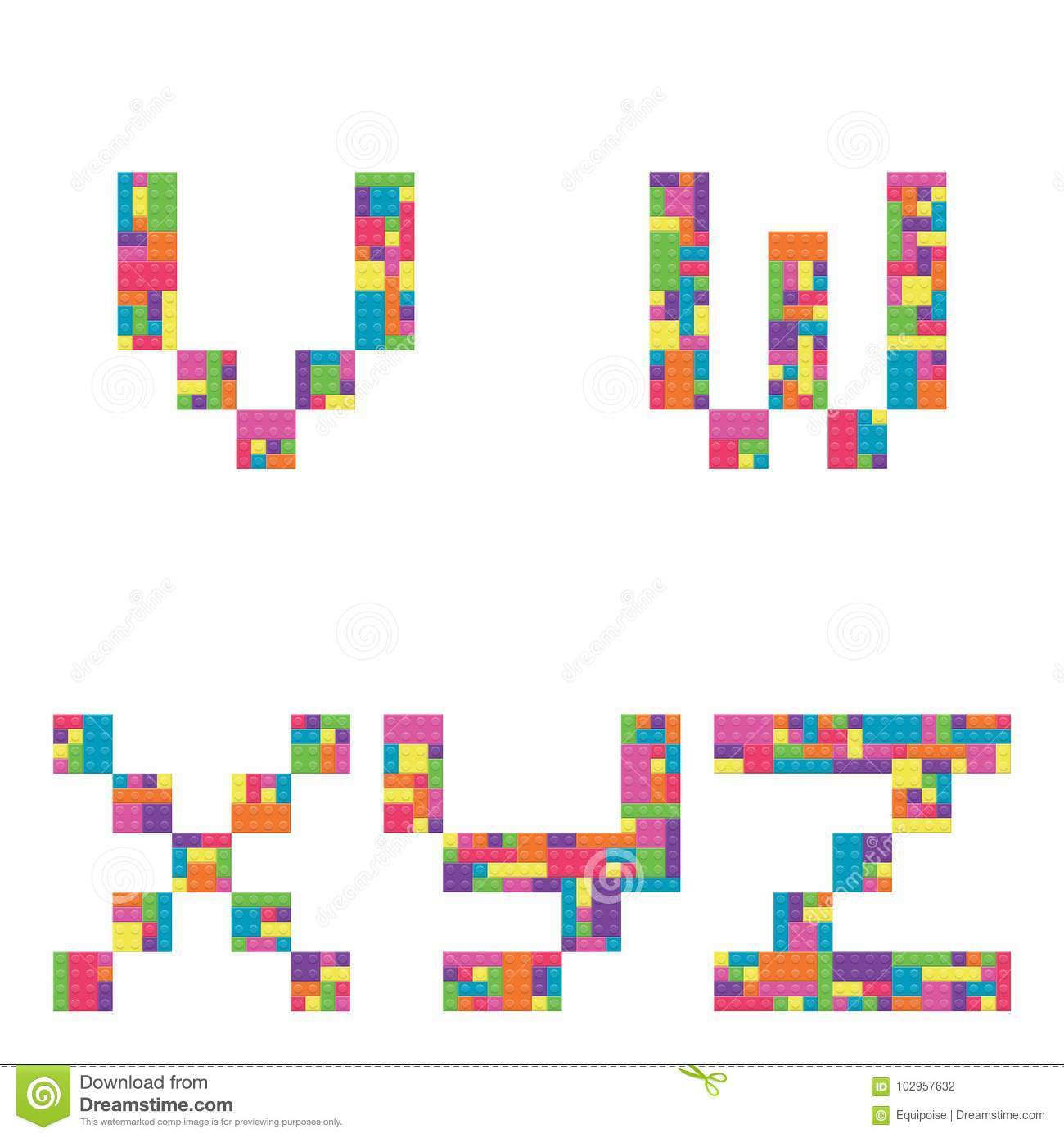 V W X Y Z Alphabet Lowercase Letters From Children Building