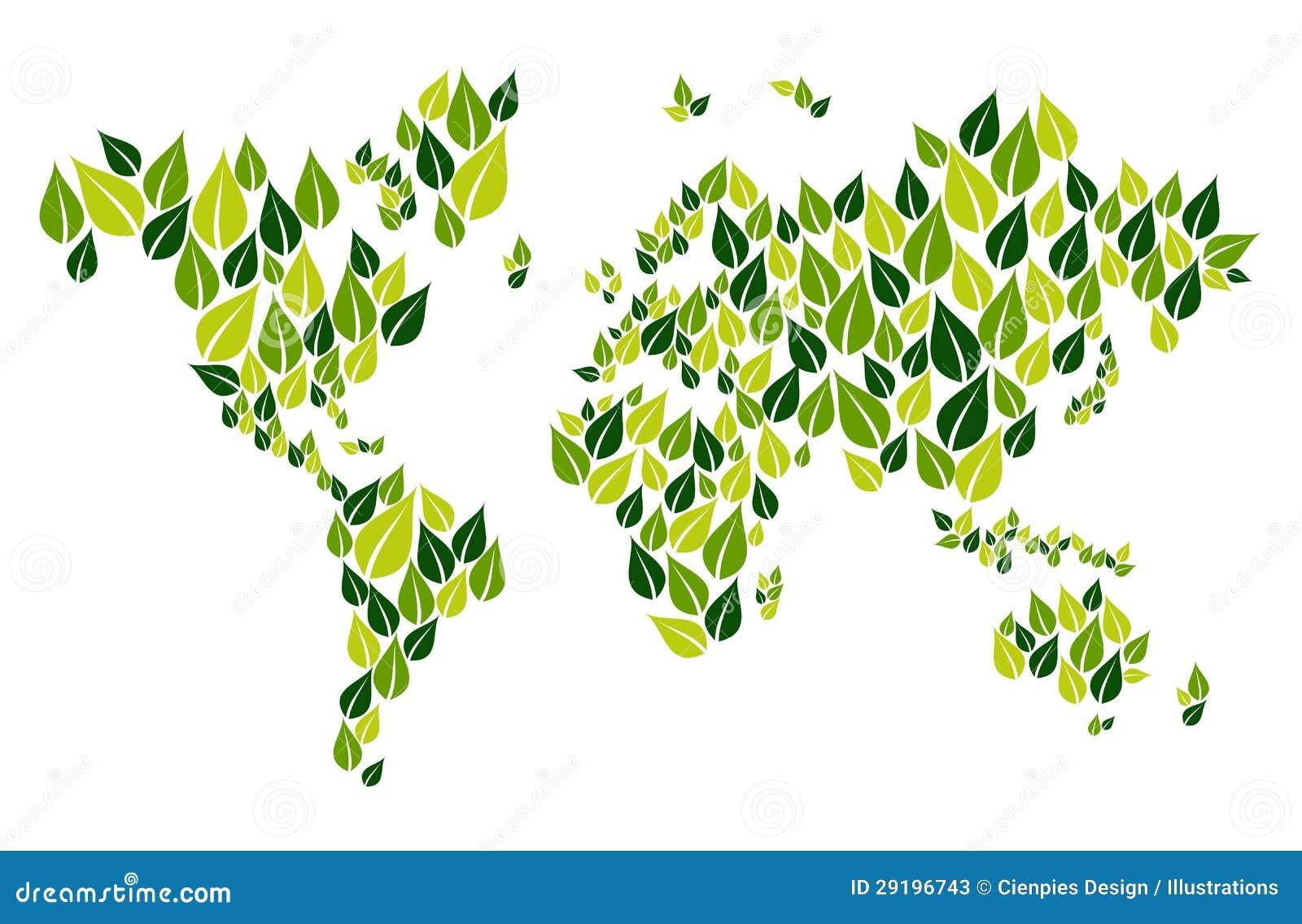 Va la mappa di mondo verde della foglia illustrazione for Il verde mondo