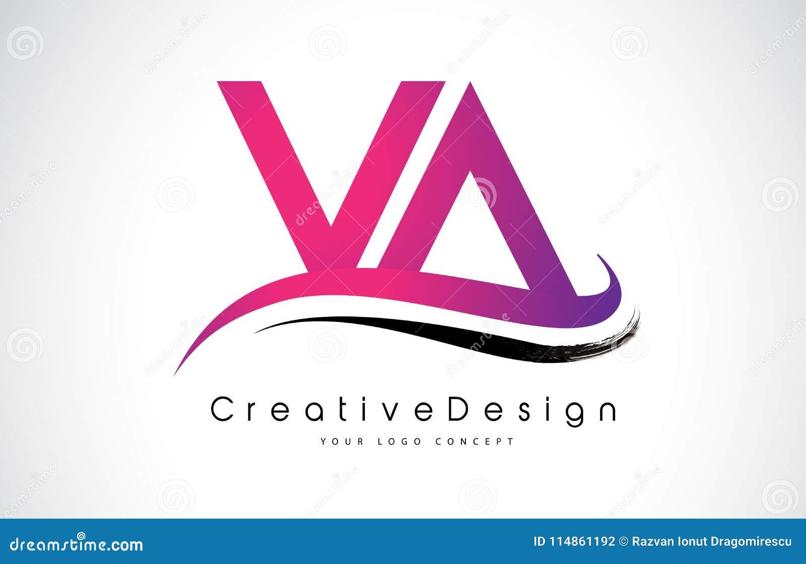 VA V A Letter Logo Design. Creative Icon Modern Letters Vector L ...