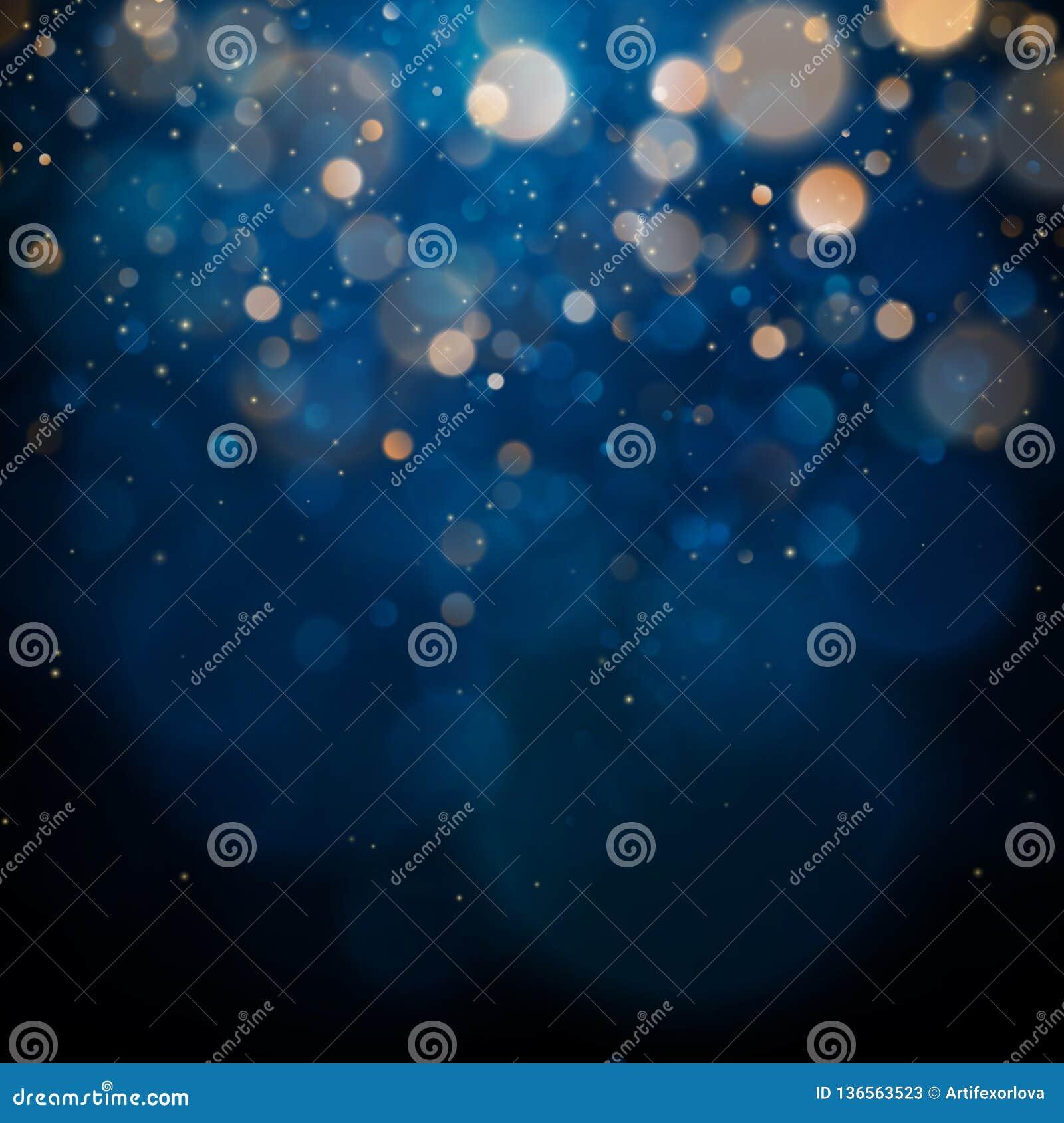 Vaag bokeh licht op donkerblauwe achtergrond Kerstmis en Nieuwjaarvakantiemalplaatje De samenvatting schittert Defocused
