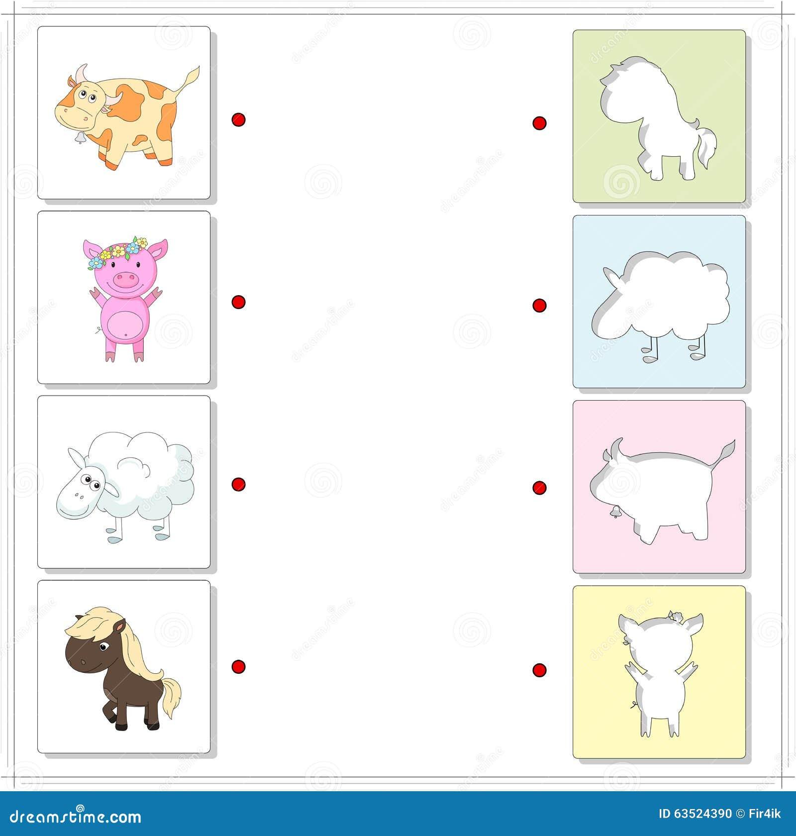 Vaca, cerdo, ovejas y caballo Juego educativo para los niños