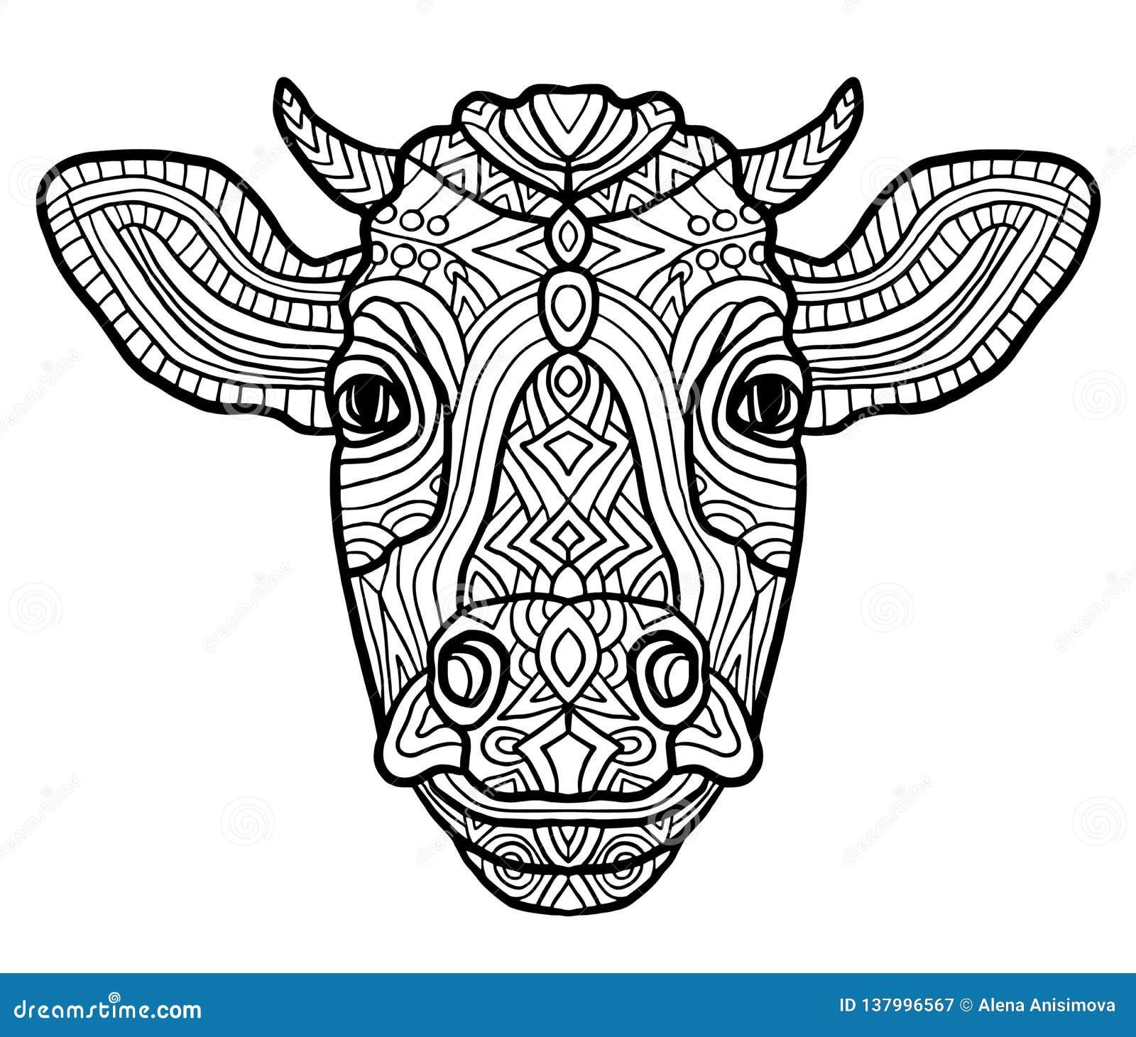 Vaca Colorindo Adulta Da Pagina Estilo Da Arte Do Zen Ternos