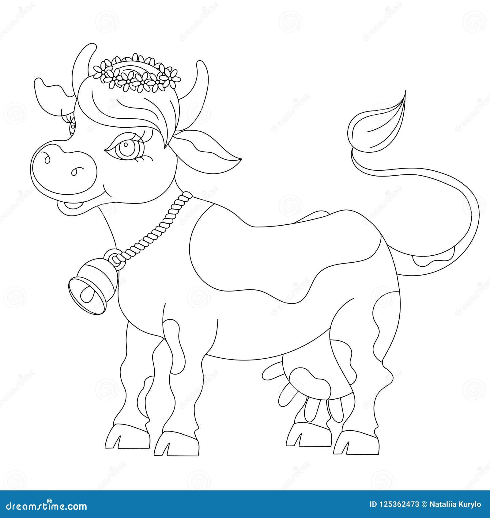 Vaca De La Historieta Del Bosquejo, Para El Libro De Colorear De Los ...