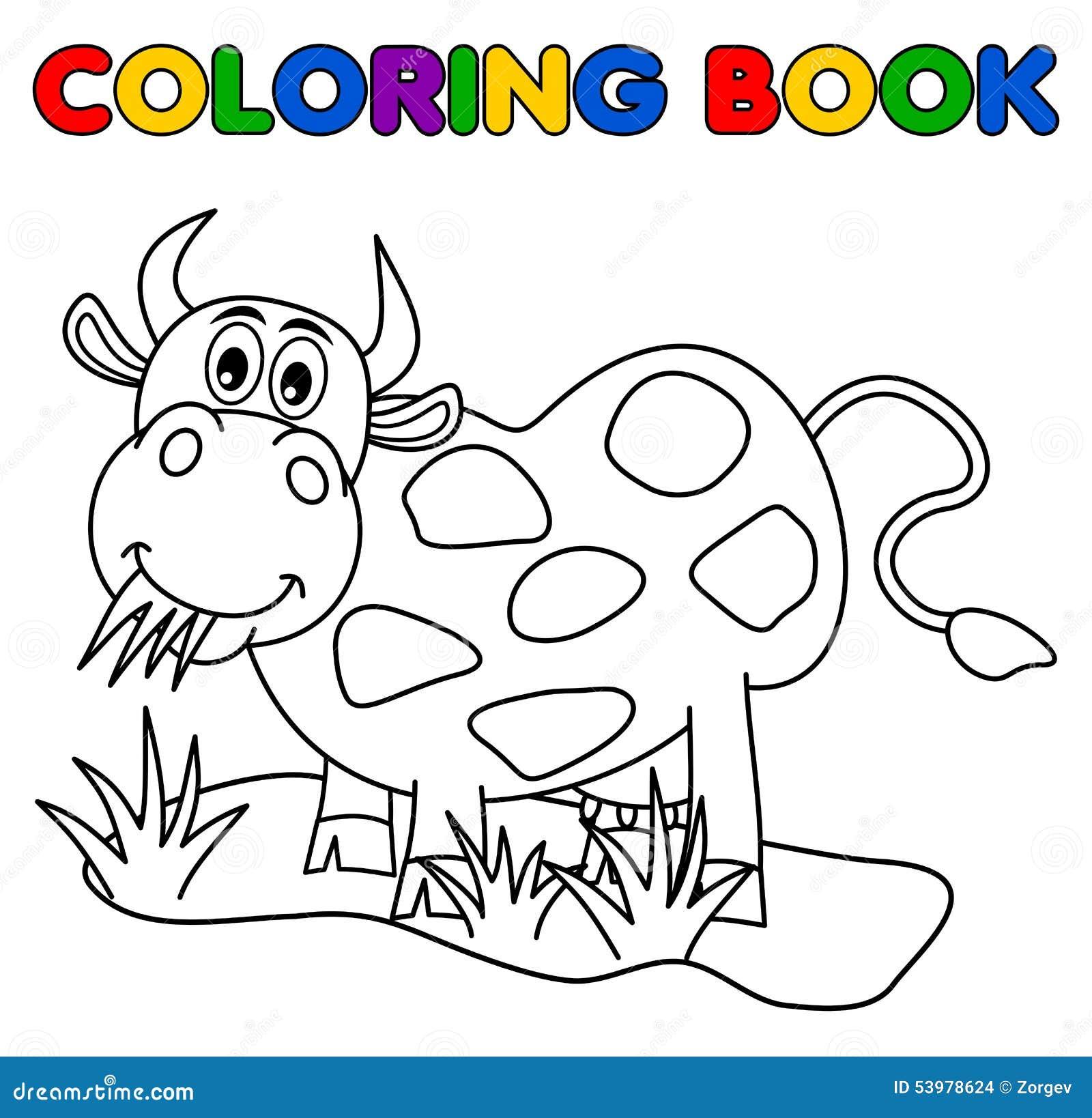 Vaca Enorme Que Come En El Campo Para Colorear Ilustración del ...