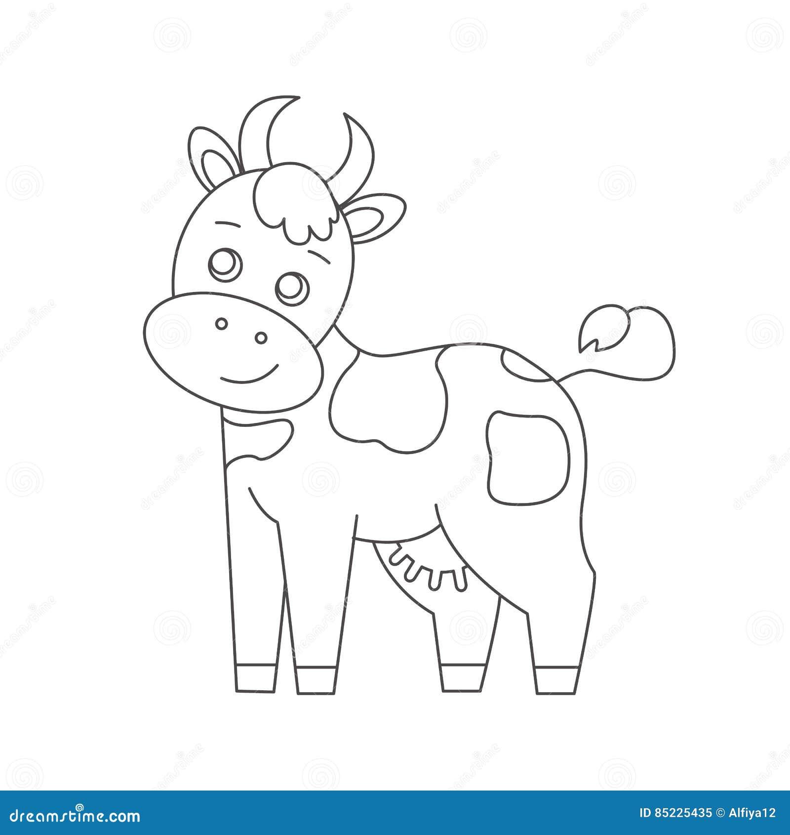 Vaca Para El Libro De Colorear Ilustración del Vector - Ilustración ...