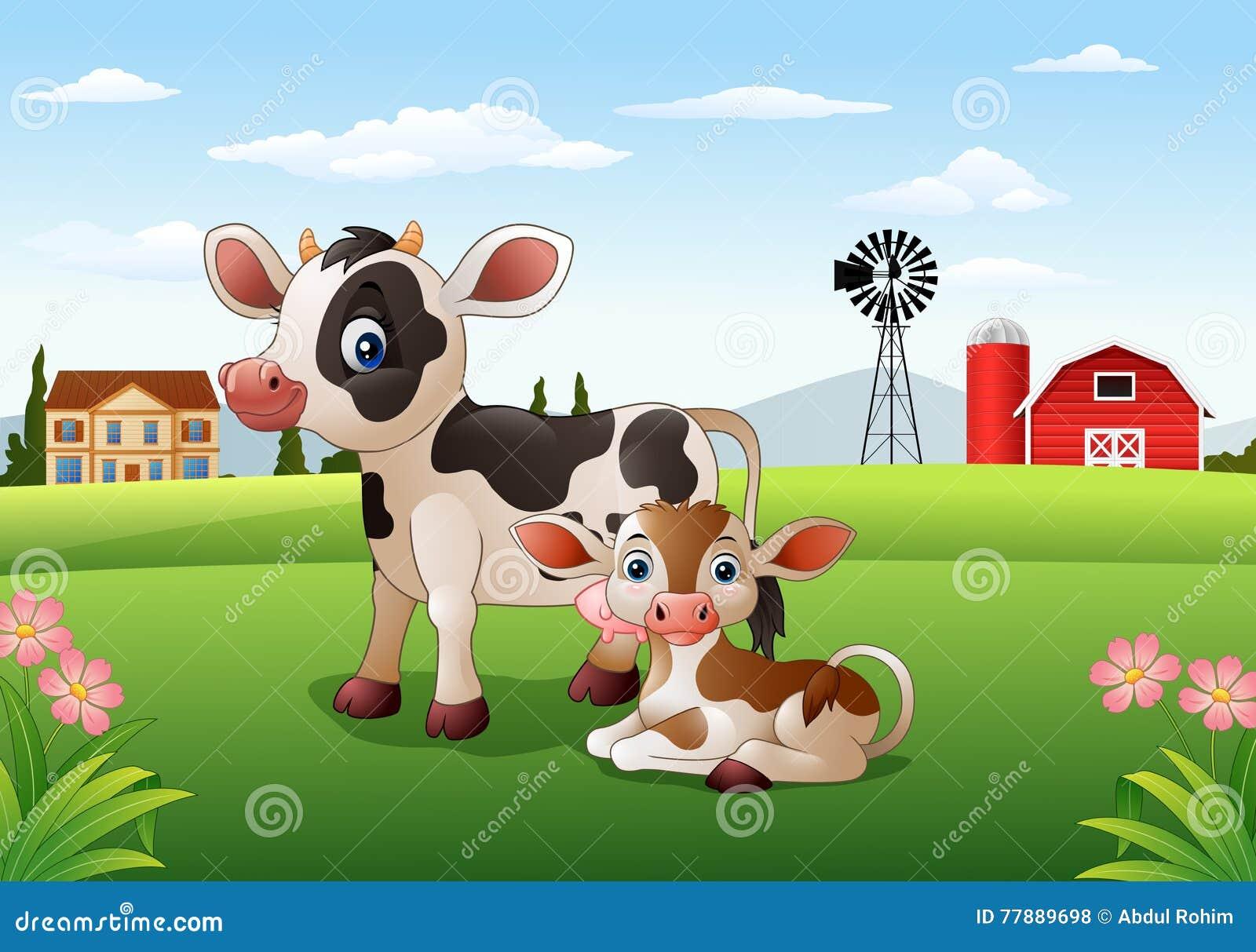 Vaca Y Becerro De La Historieta Con El Fondo De La Granja Ilustración del Vector