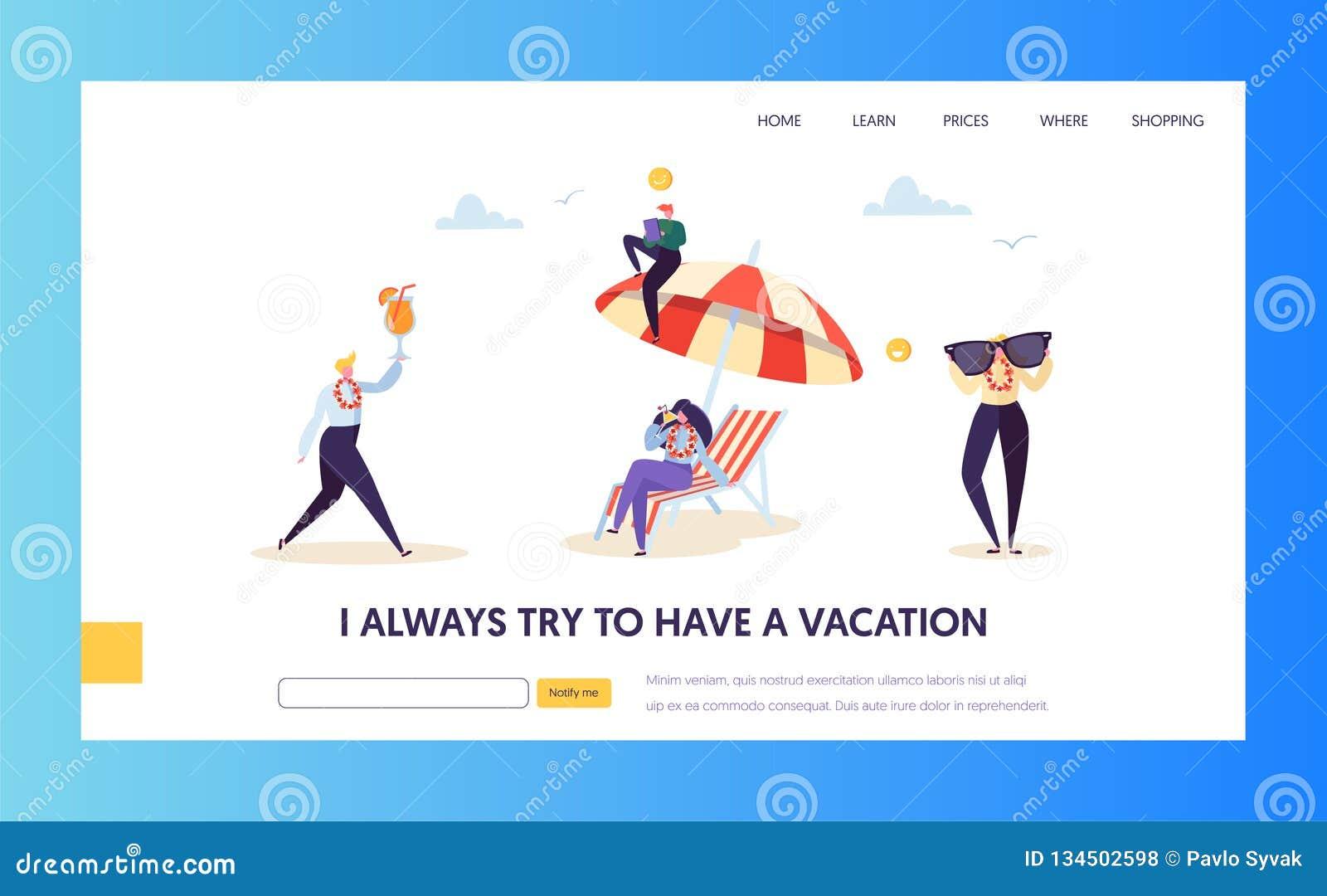 Vacaciones de la playa para los caracteres del negocio corporativo que aterrizan la página Administrador de oficinas feliz Relax