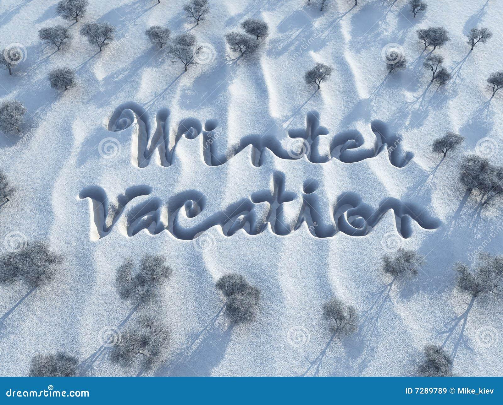 Vacaciones del invierno, palabras en nieve
