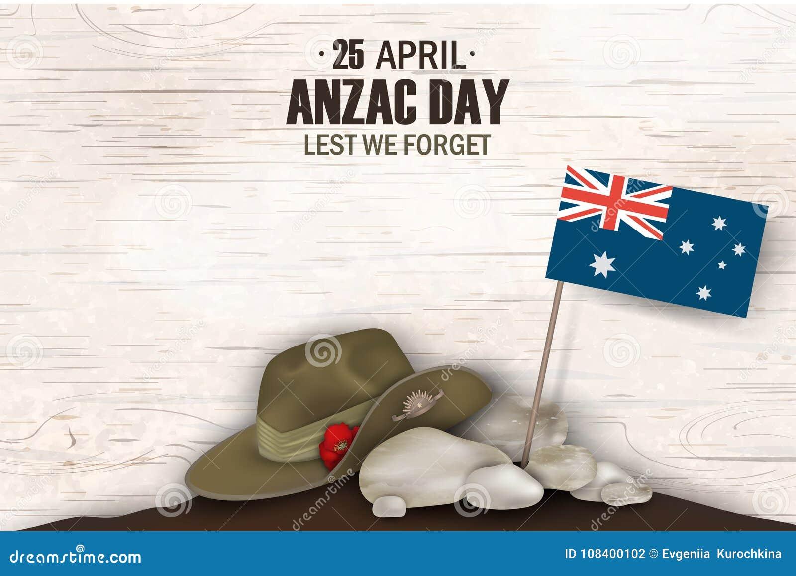 Vacances commémoratives d anniversaire de pavots d Anzac Day De peur que nous oubliions Affiche ou greeti de jour de souvenir de