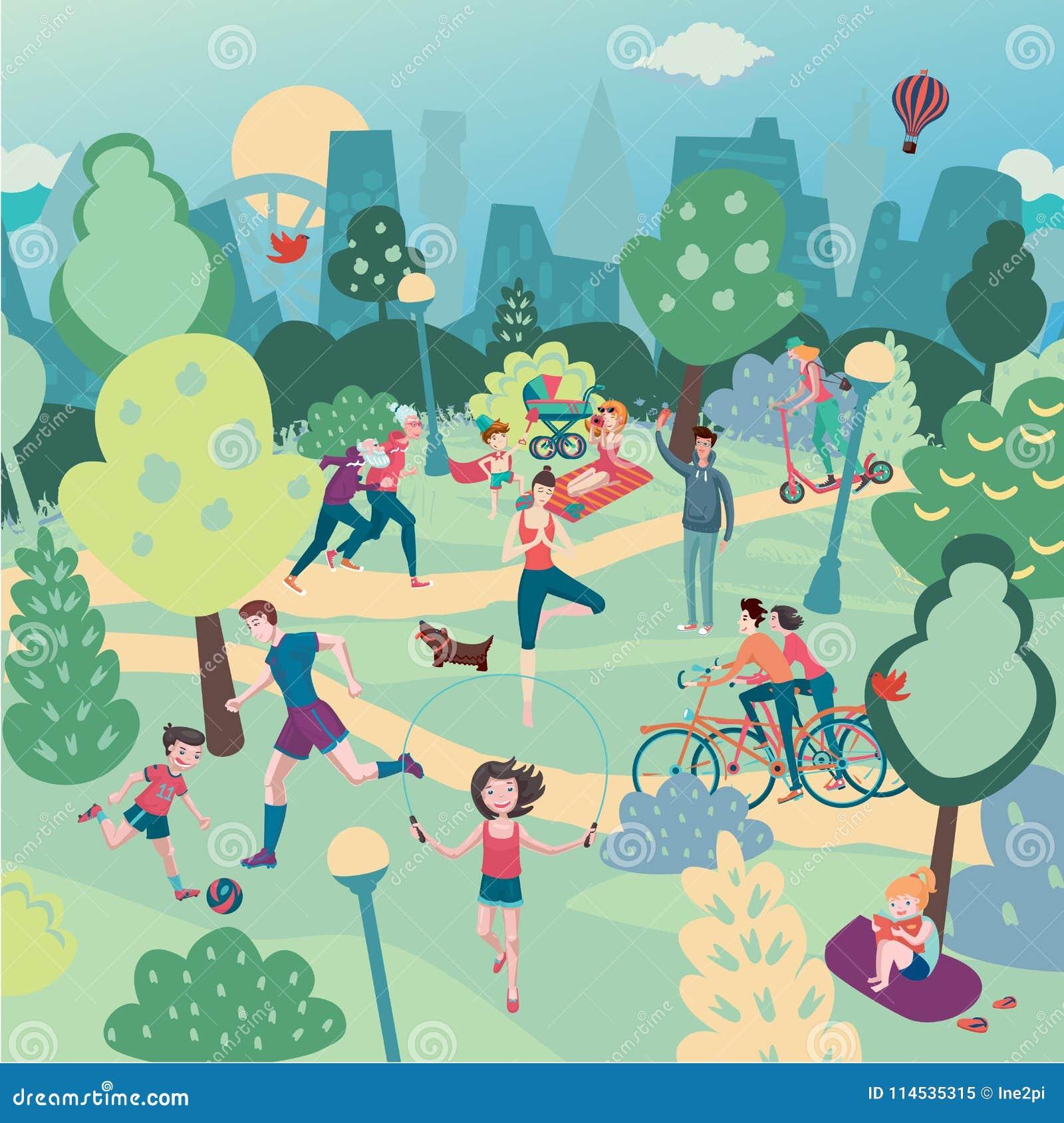 Vacances de famille sur la nature Aerialview de parc de ville avec des personnes Sport d été et paysage panoramique de récréation