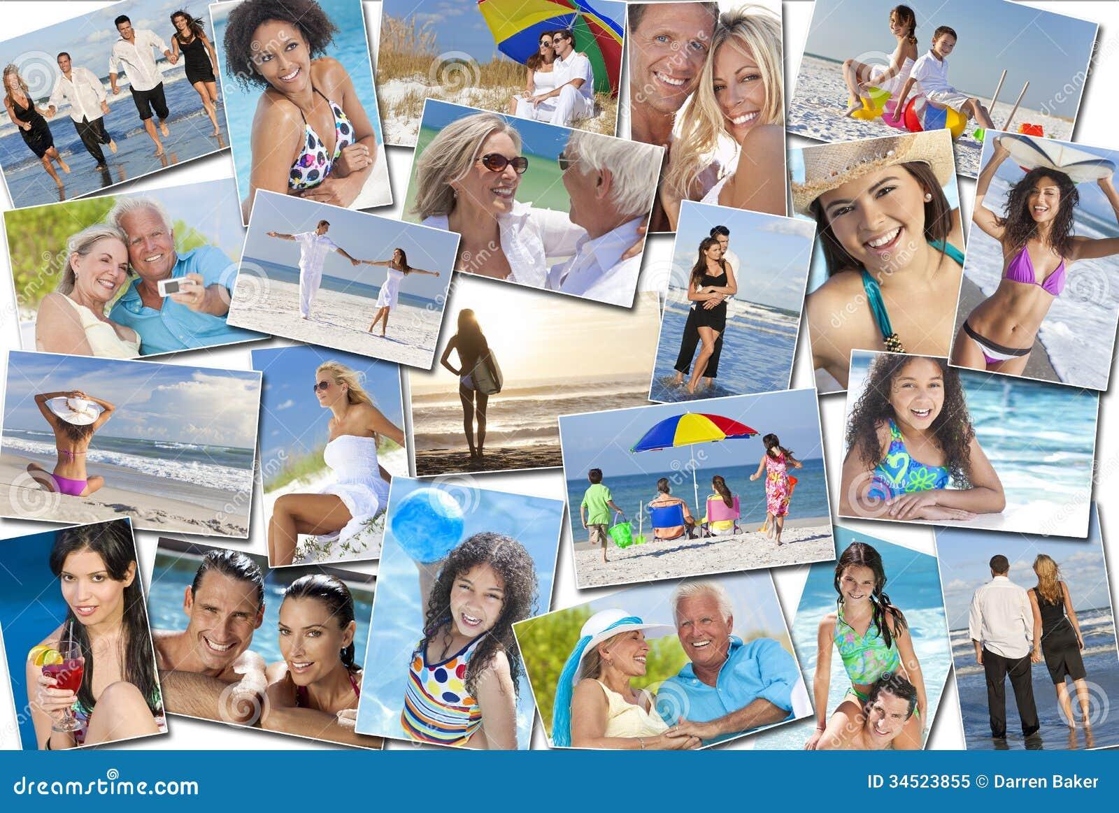 Vacances de vacances de plage de famille d enfants de femmes d hommes de personnes