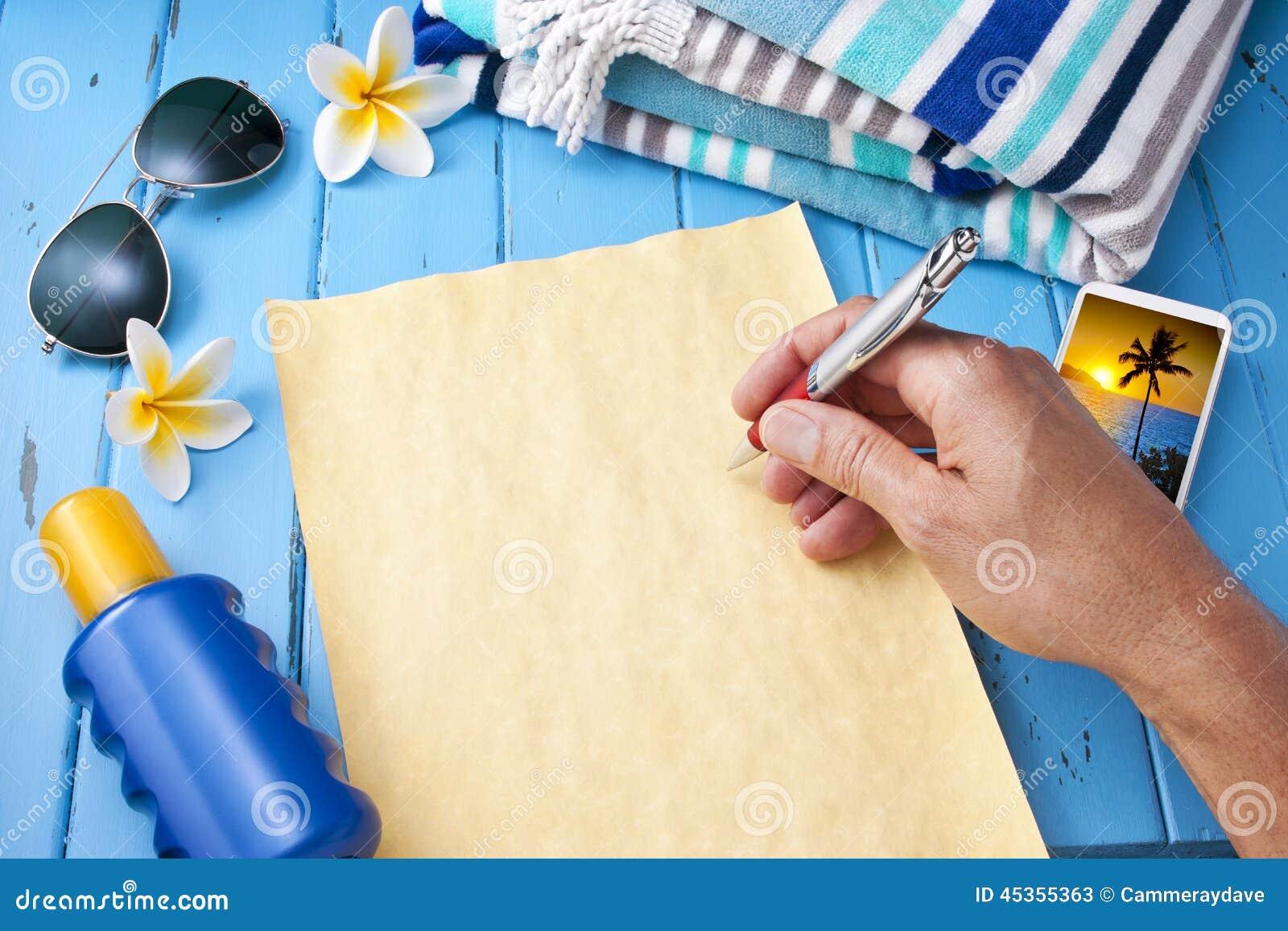 Vacances de vacances de voyage de lettre