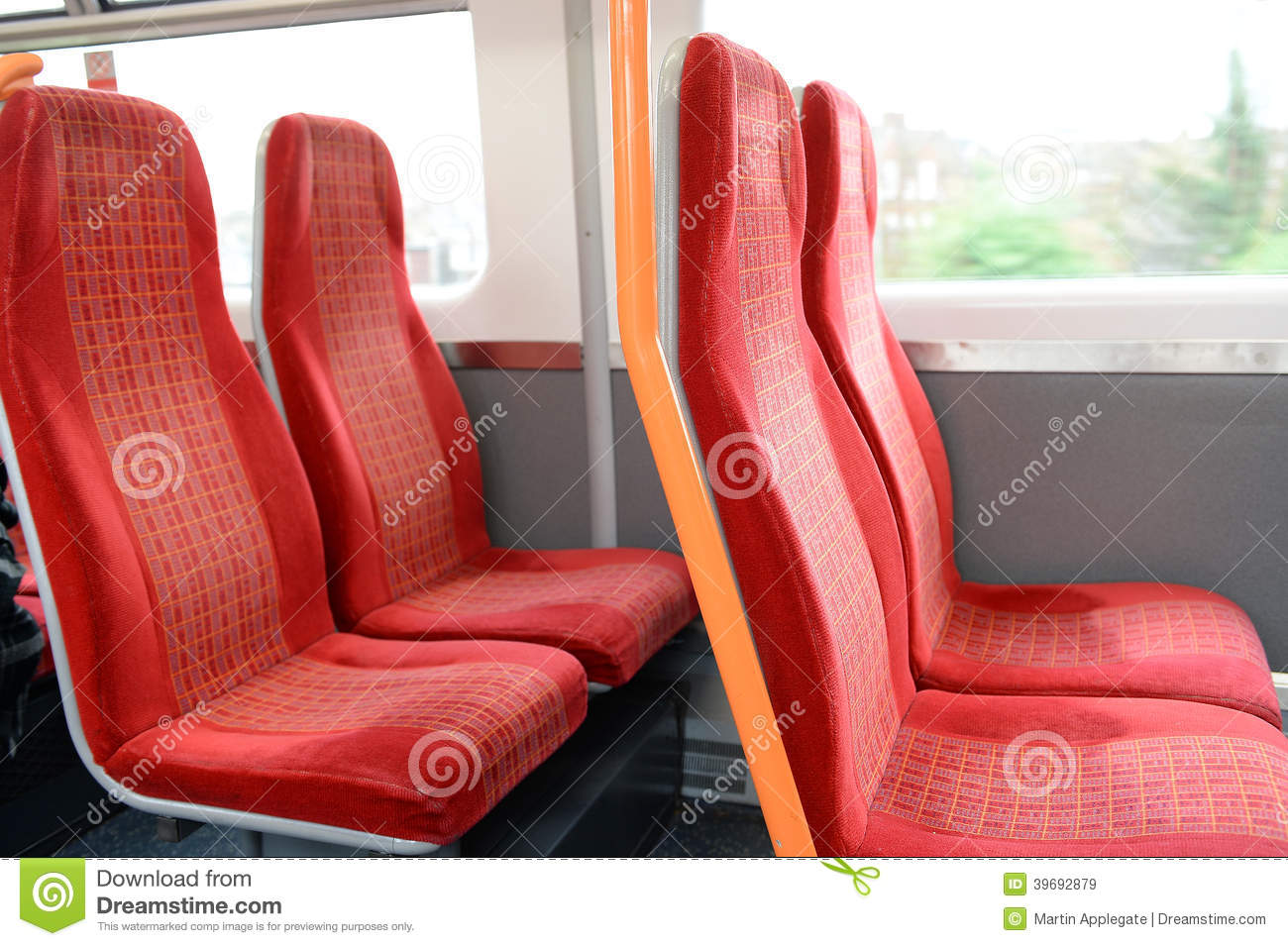 Vacant Red Seats In A Train Stock Photo - Image: 39692879
