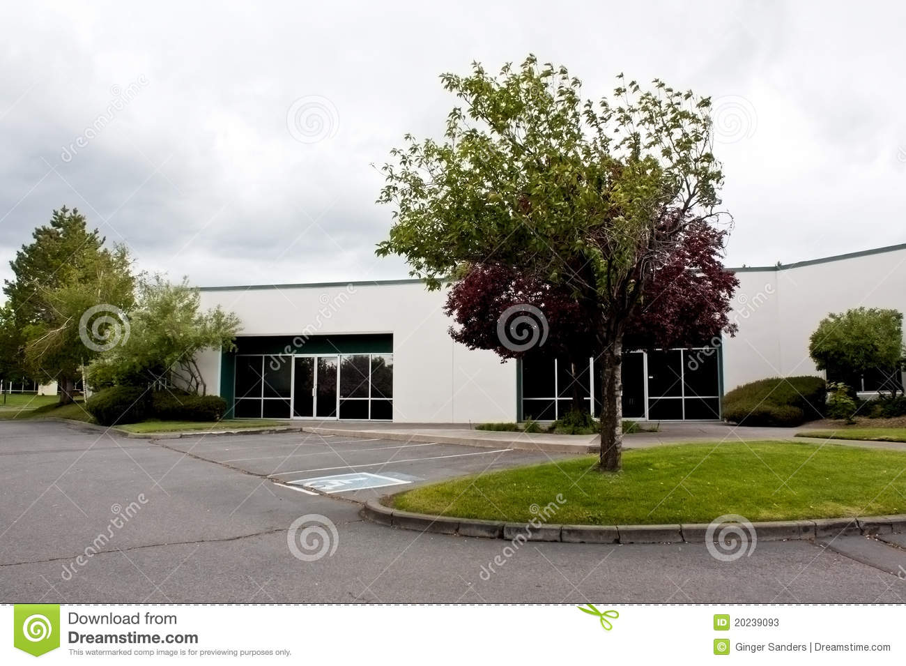 Vacant White Office Building and Lot
