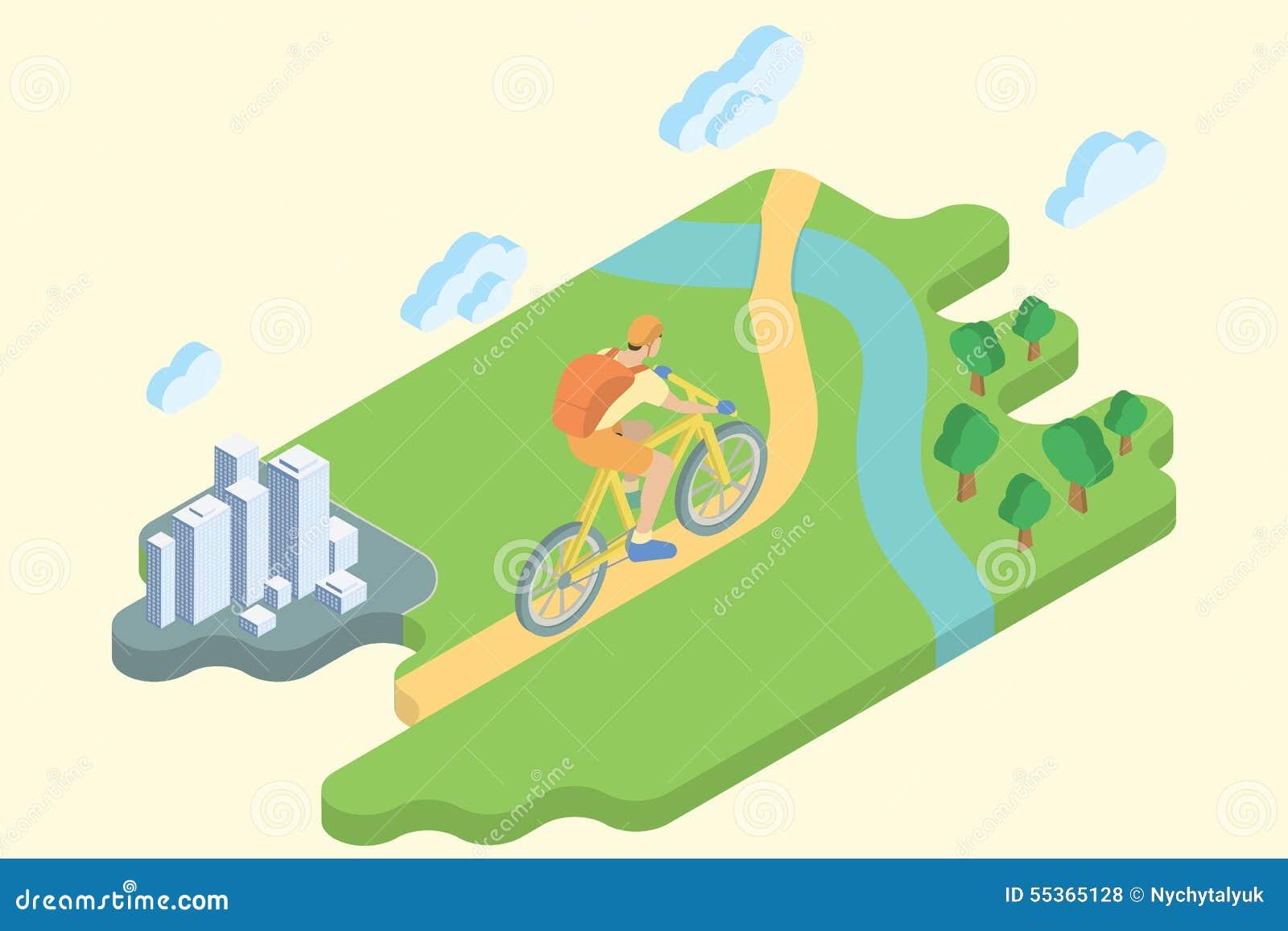 Vacanze estive della pista ciclabile Arte isometrica piana