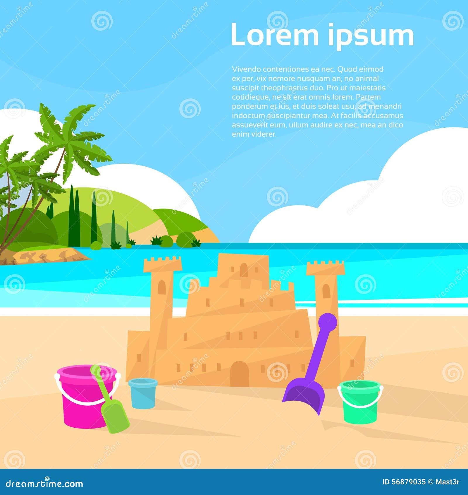 Vacanze estive della spiaggia dell oceano del castello della sabbia piane