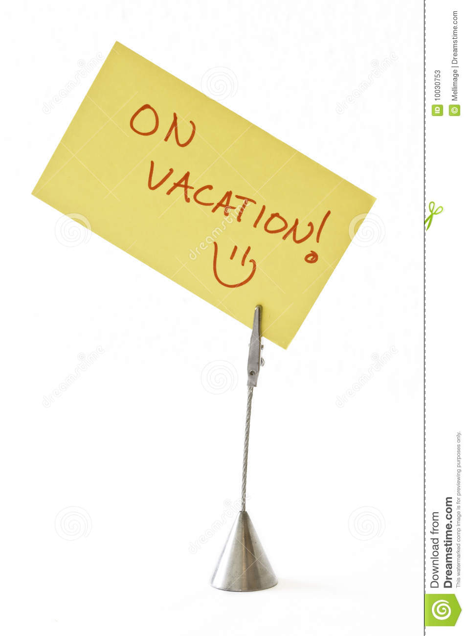 On Vacation Stock Image. Image Of Sticky, Note, Standing