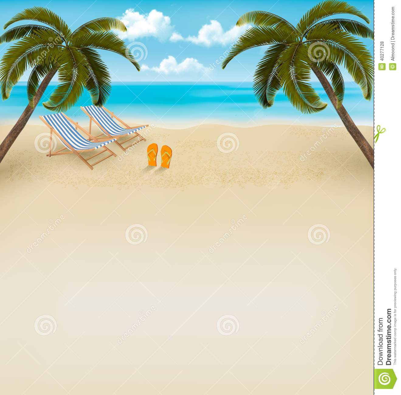 d61d45bcd Vacation Background. Beach With Palm Trees And Flip Flops. Vector ...