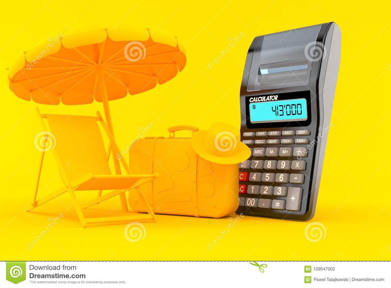 vacation background with calculator stock illustration