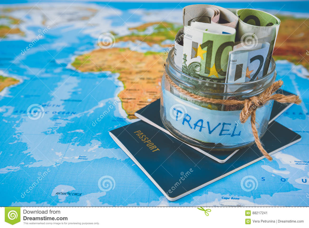 Vacation budget concept vacation money savings in a glass jar stock royalty free stock photo gumiabroncs Images