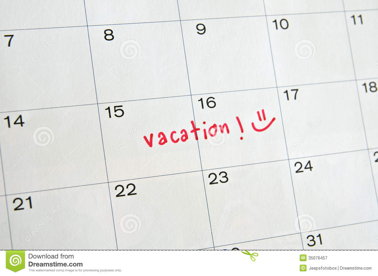 Vacation On Calendar Royalty Free Stock Photography - Image: 35076457