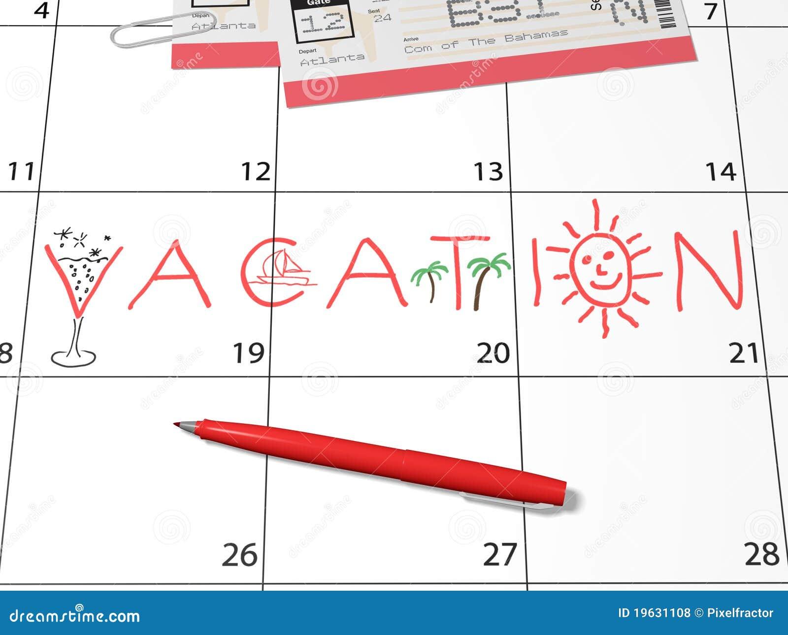 Calendar Time Clip Art : Vacation calendar reminder stock illustration image of