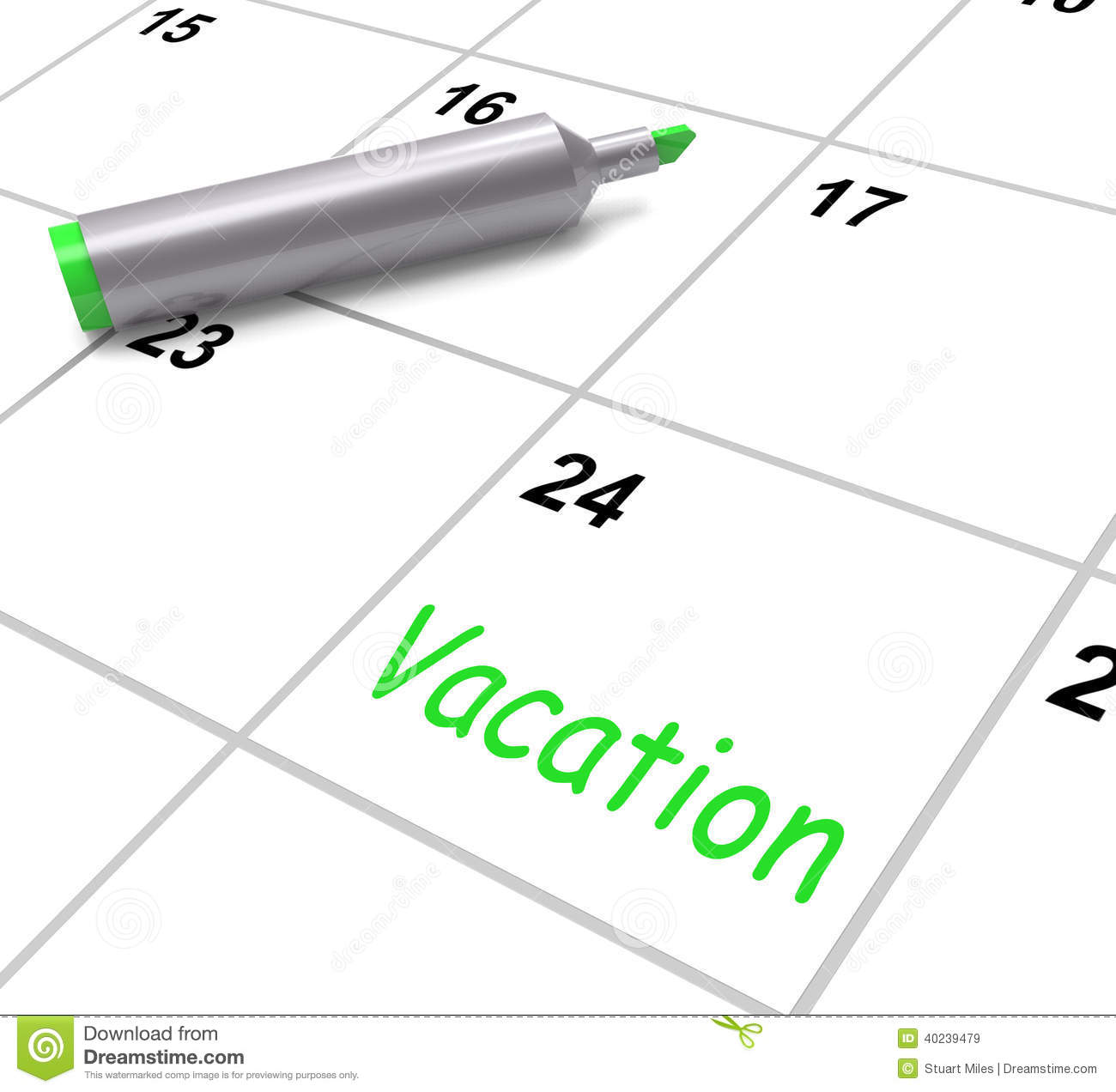 Calendar Illustration Jobs : Vacation calendar shows day off work or holiday stock