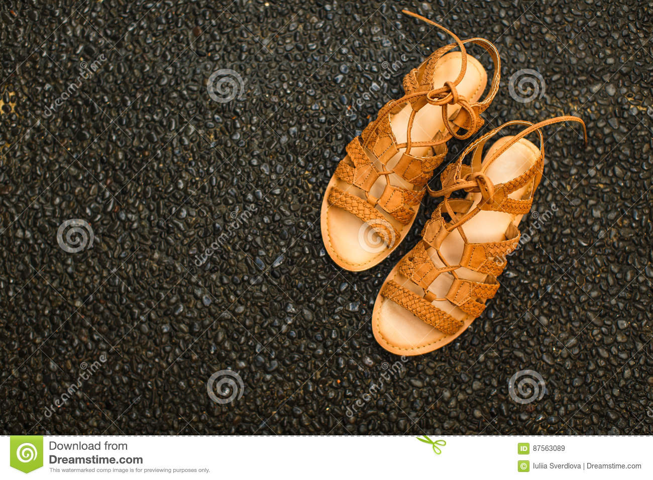 Vacation concept: Summer sandals