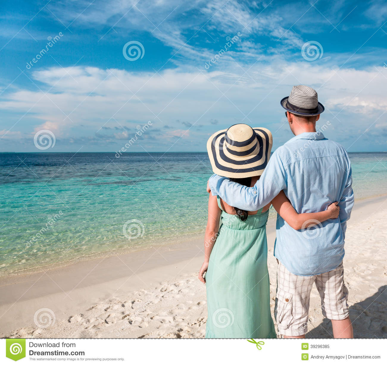 vacation couple walking on tropical beach maldives stock