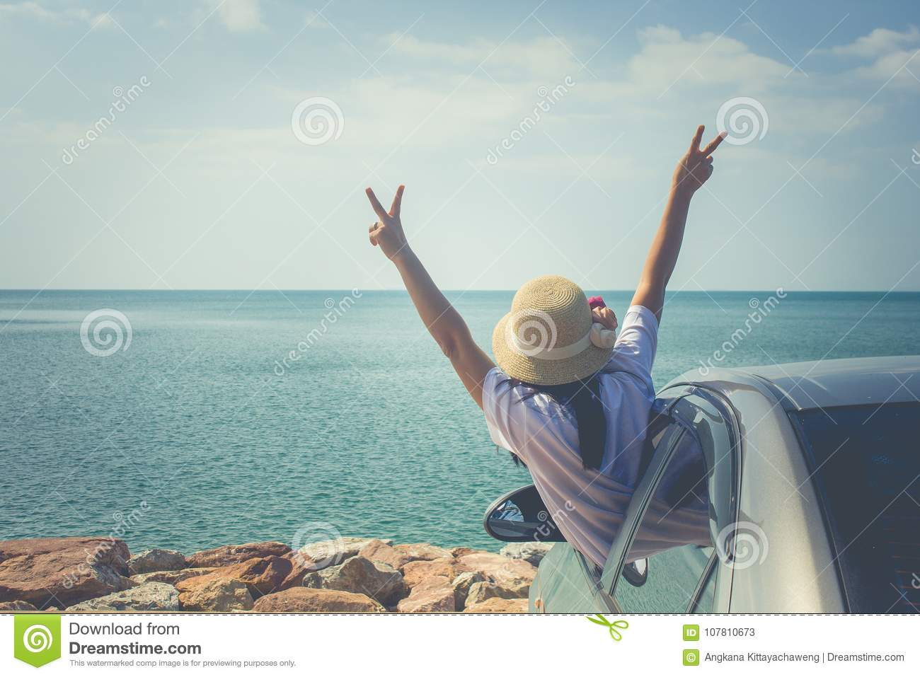 Vacation and Holiday Concept : Happy family car trip at the sea, Portrait woman feeling happiness.