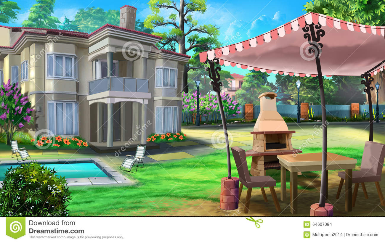 Vacation home private house villa stock illustration for Digitally paint your house