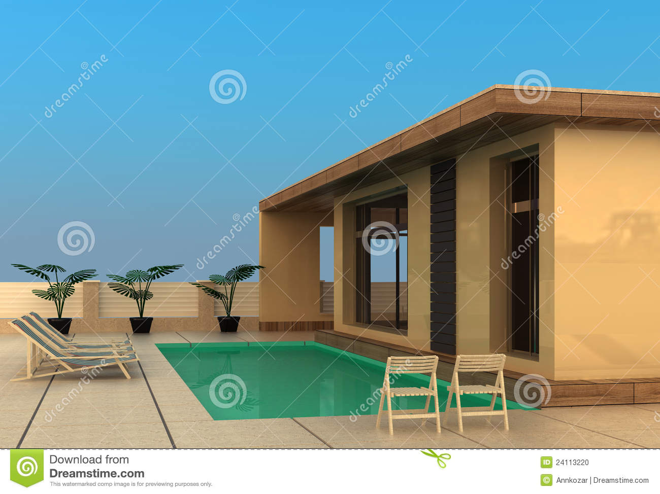Vacation Home With Swimming Pool Stock Photo Image 24113220