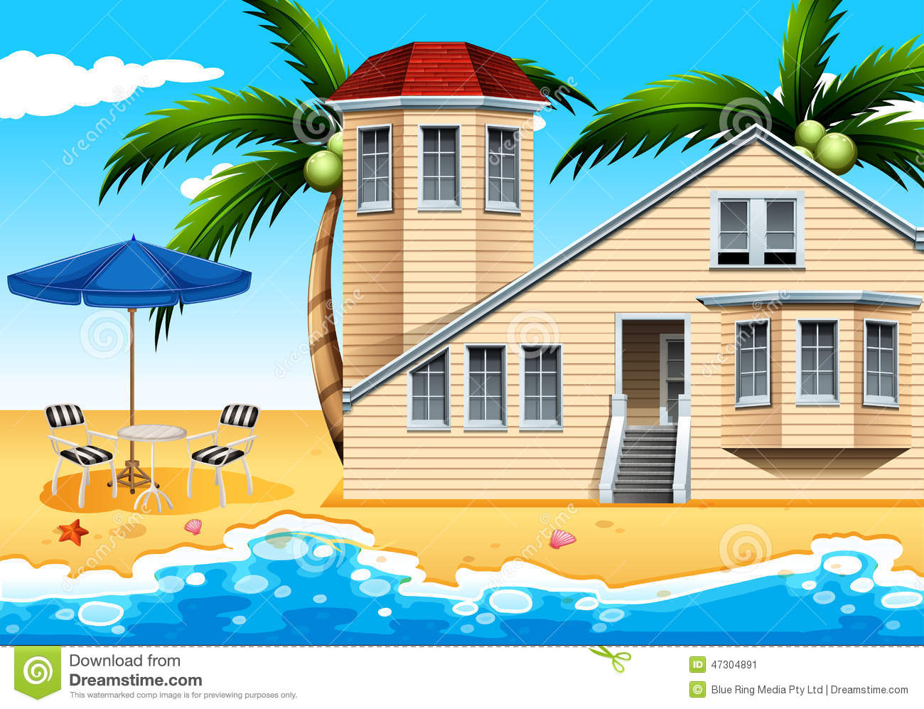 A vacation house at the beach stock vector image 47304891 - Vacation houses at the seaside ...