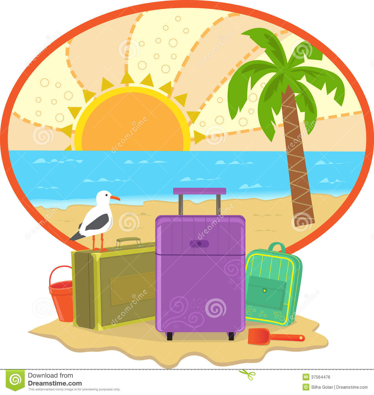 Cute illustration of suitcases and a beach in the background. Eps10.