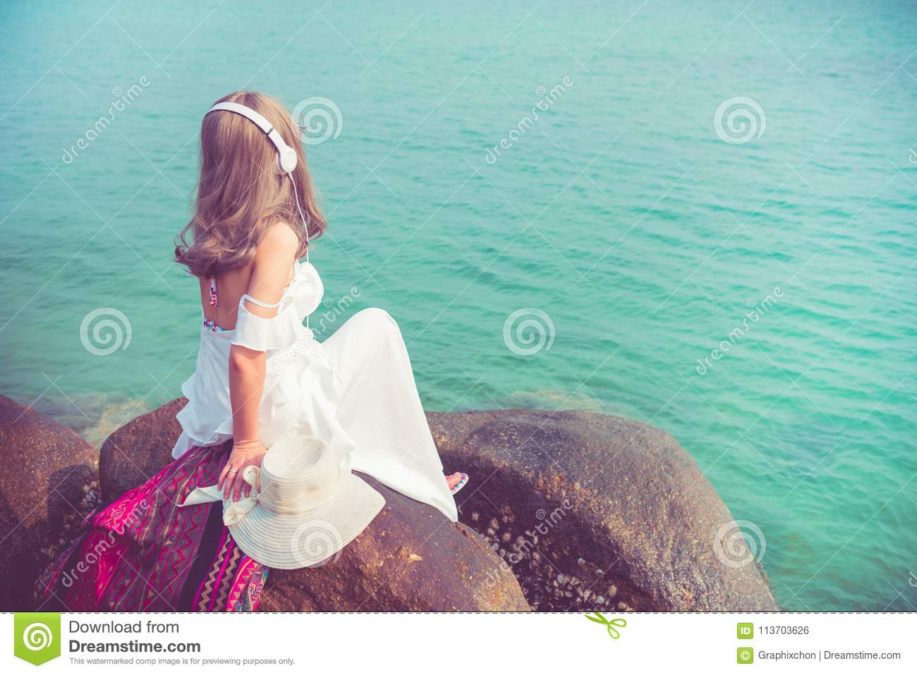 vacation and relaxing in summer beach stock photo image of relax