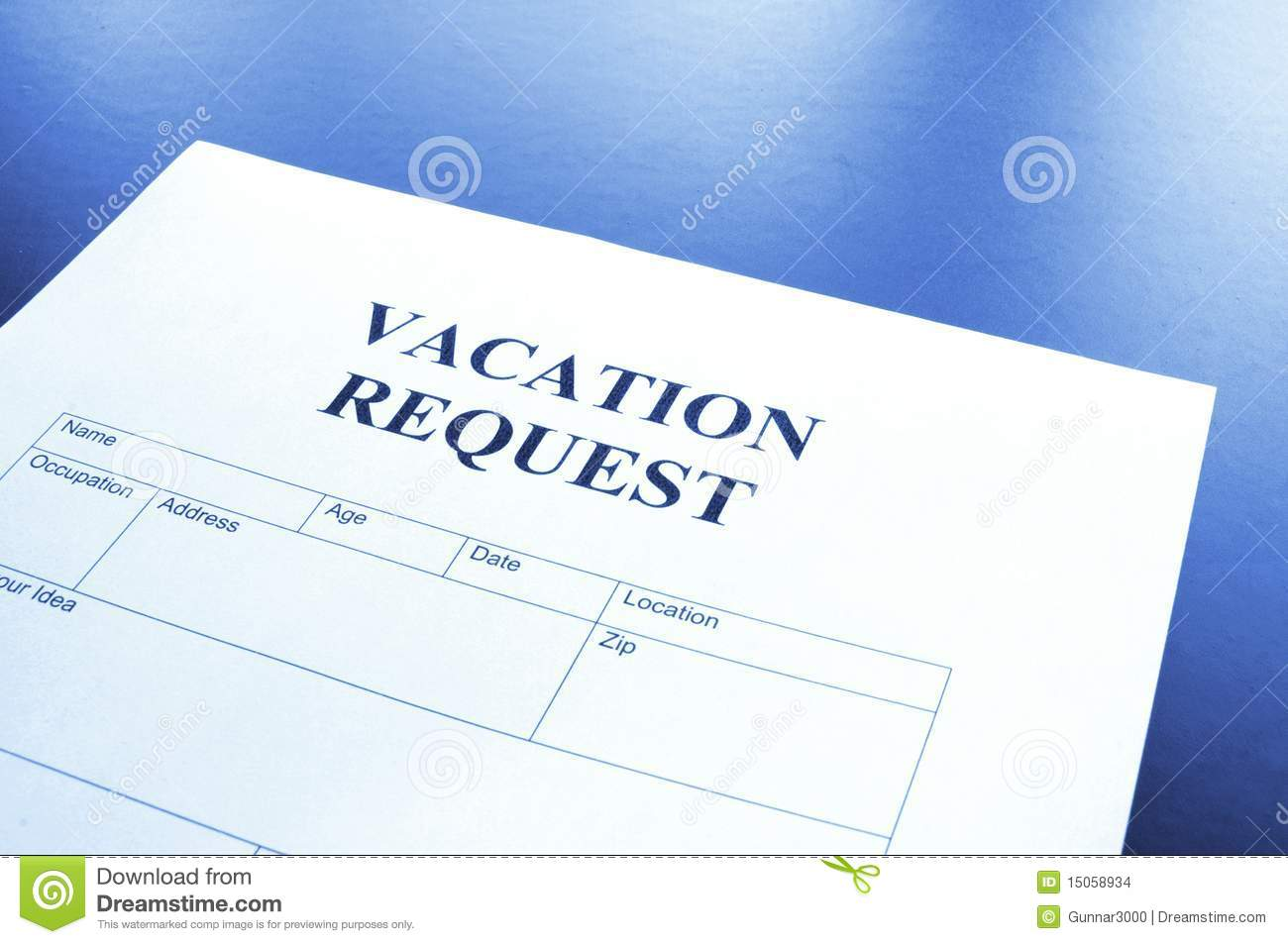 Vacation request form in business office showing holiday concept.