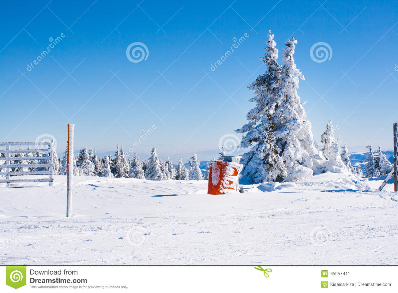 Vacation rural winter background with white pine fence for Vacation in the snow