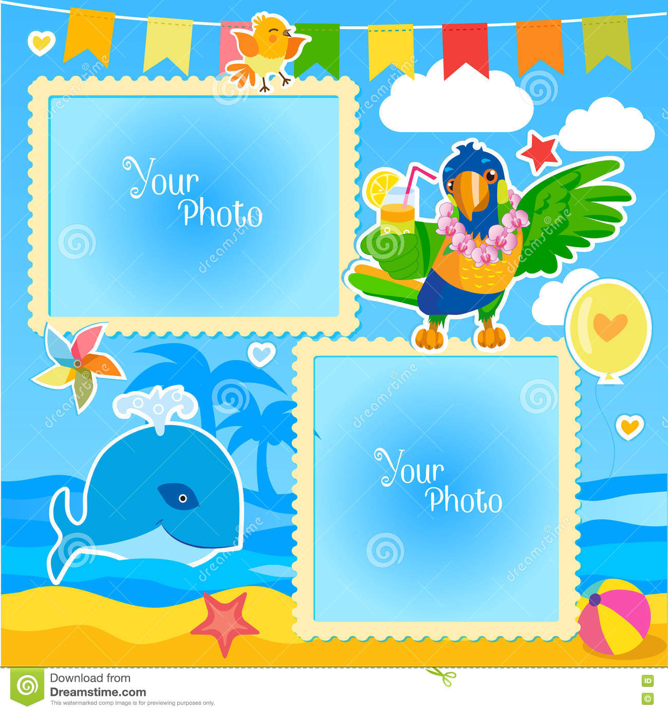 Royalty-Free Vector. Download Vacation Summer Photo Frames ...