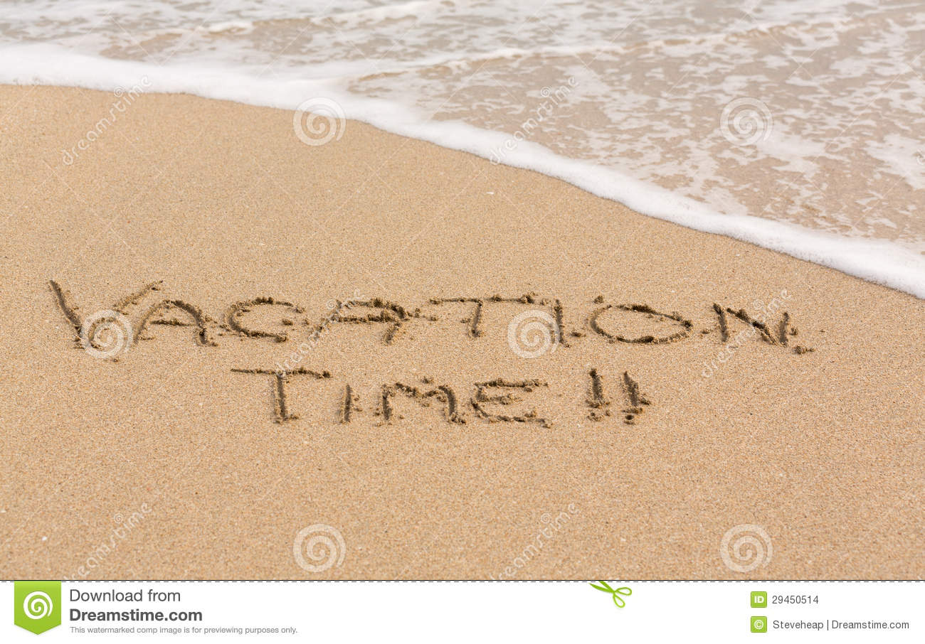 Vacation Time Written In Sand With Sea Surf Stock Images - Image ...